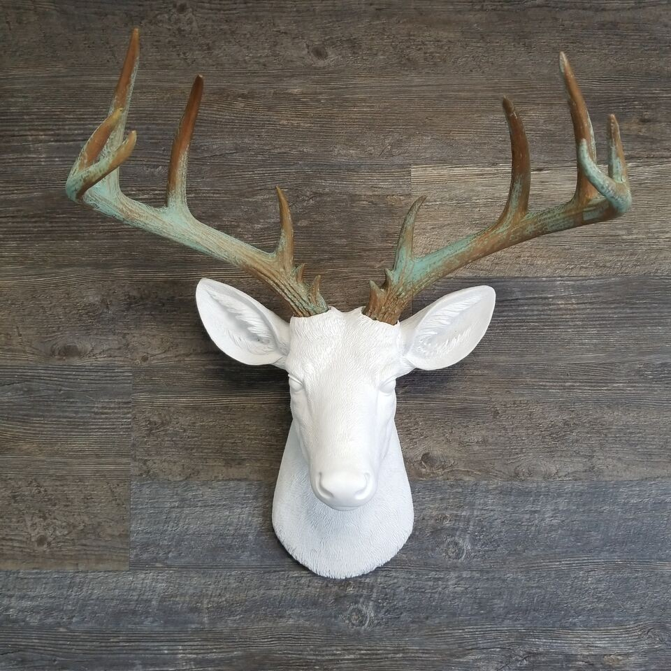 Large Deer Head –faux Taxidermy – White And Patina Stag Wall Mount – Unique Farmhouse Decor For Large Deer Head Faux Taxidermy Wall Decor (View 4 of 30)