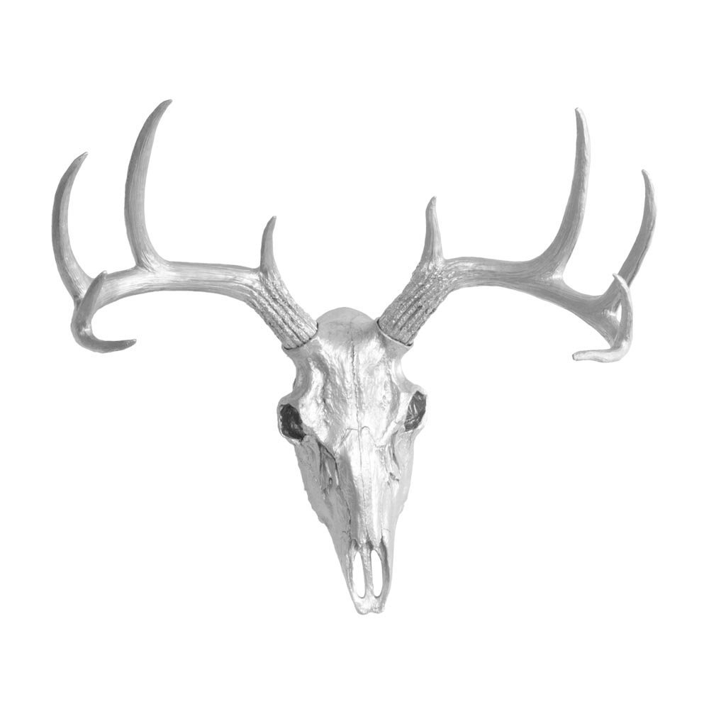 Large Deer Skull Animal Headwall Charmers Silver Faux In Large Deer Head Faux Taxidermy Wall Decor (View 20 of 30)