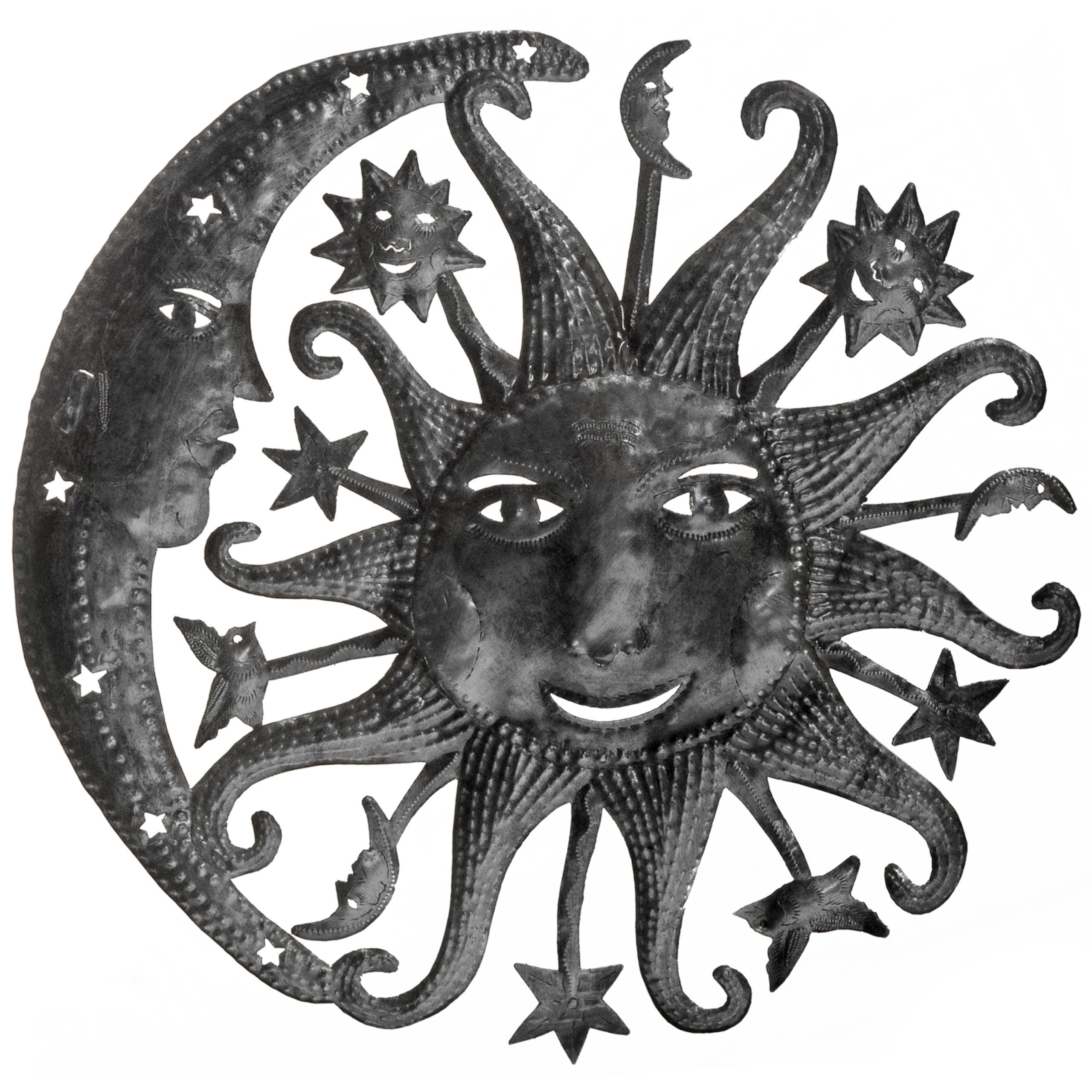 Large Heavenly Sun And Moon Wall Décor Intended For Recycled Moon And Sun Wall Decor (View 7 of 30)
