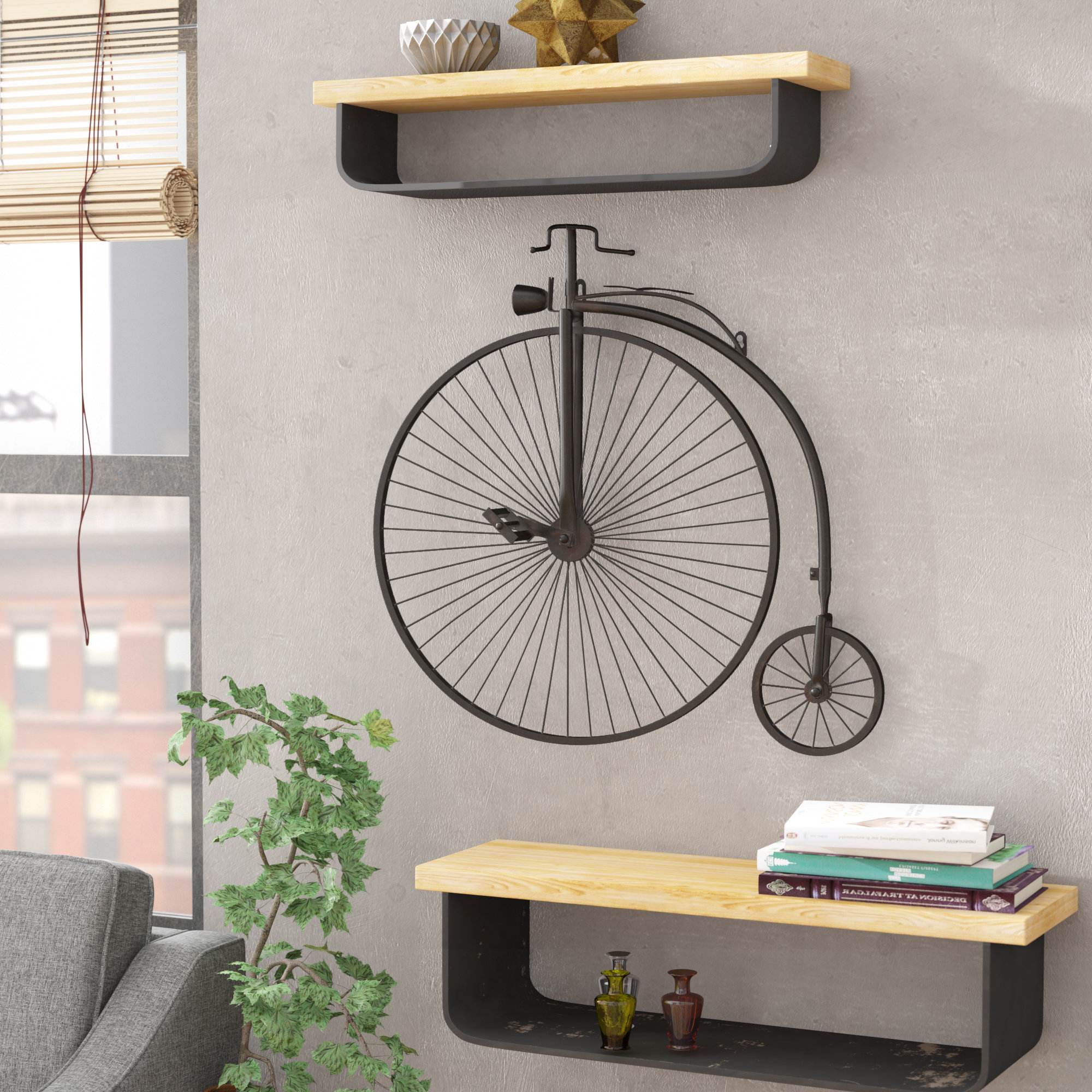 Large Metal Bike Decor | Wayfair for Millanocket Metal Wheel Photo Holder Wall Decor (Image 18 of 30)