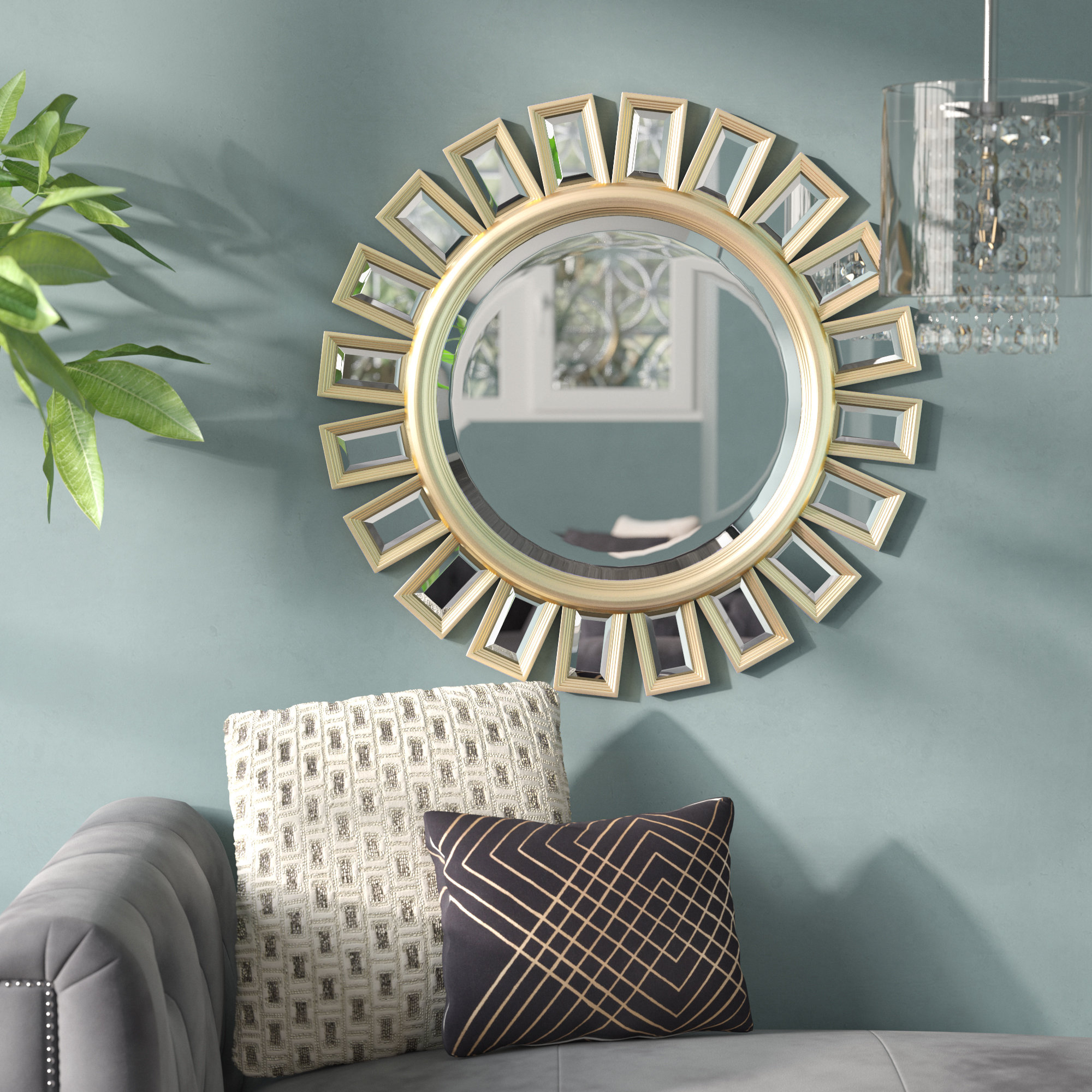 "Large & Oversized (Over 32"" High) Sunburst Mirrors You'll inside Josephson Starburst Glam Beveled Accent Wall Mirrors (Image 14 of 22)"