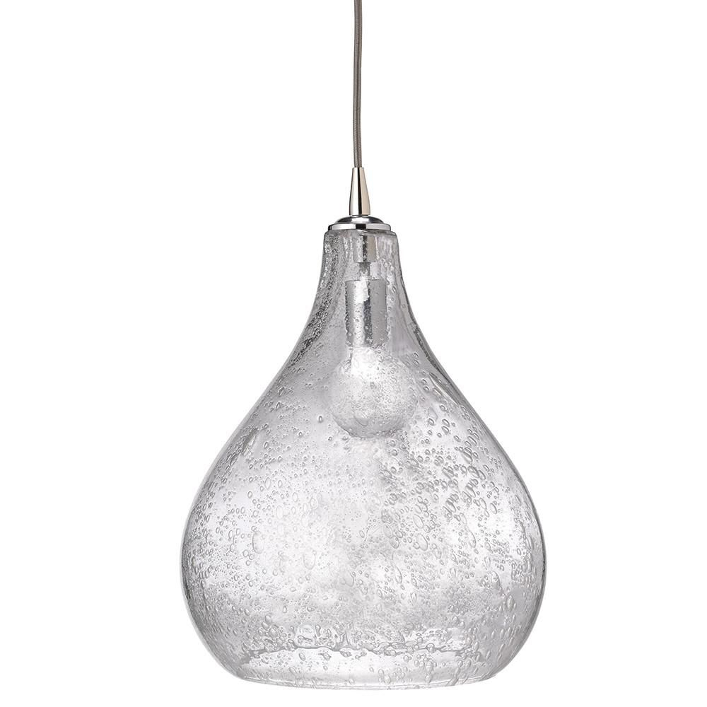 Large Seeded Glass Teardrop Pendant – Clear | Decor | Glass Inside Neal 1 Light Single Teardrop Pendants (View 19 of 30)