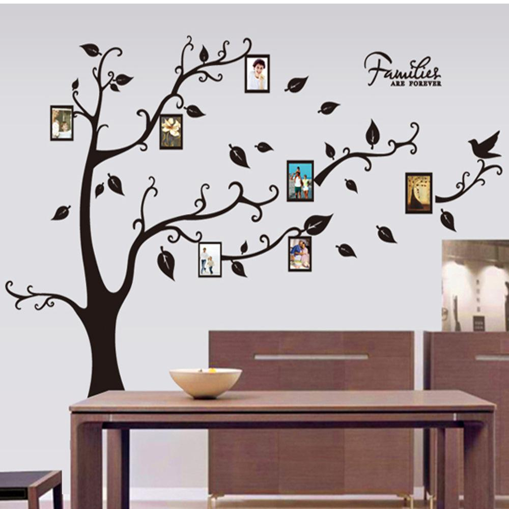 Large Size Black Family Photo Frames Tree Wall Stickers, Diy Home Decoration Wall Decals Modern Art Murals For Living Room Free Shipping For Tree Wall Decor (View 12 of 30)