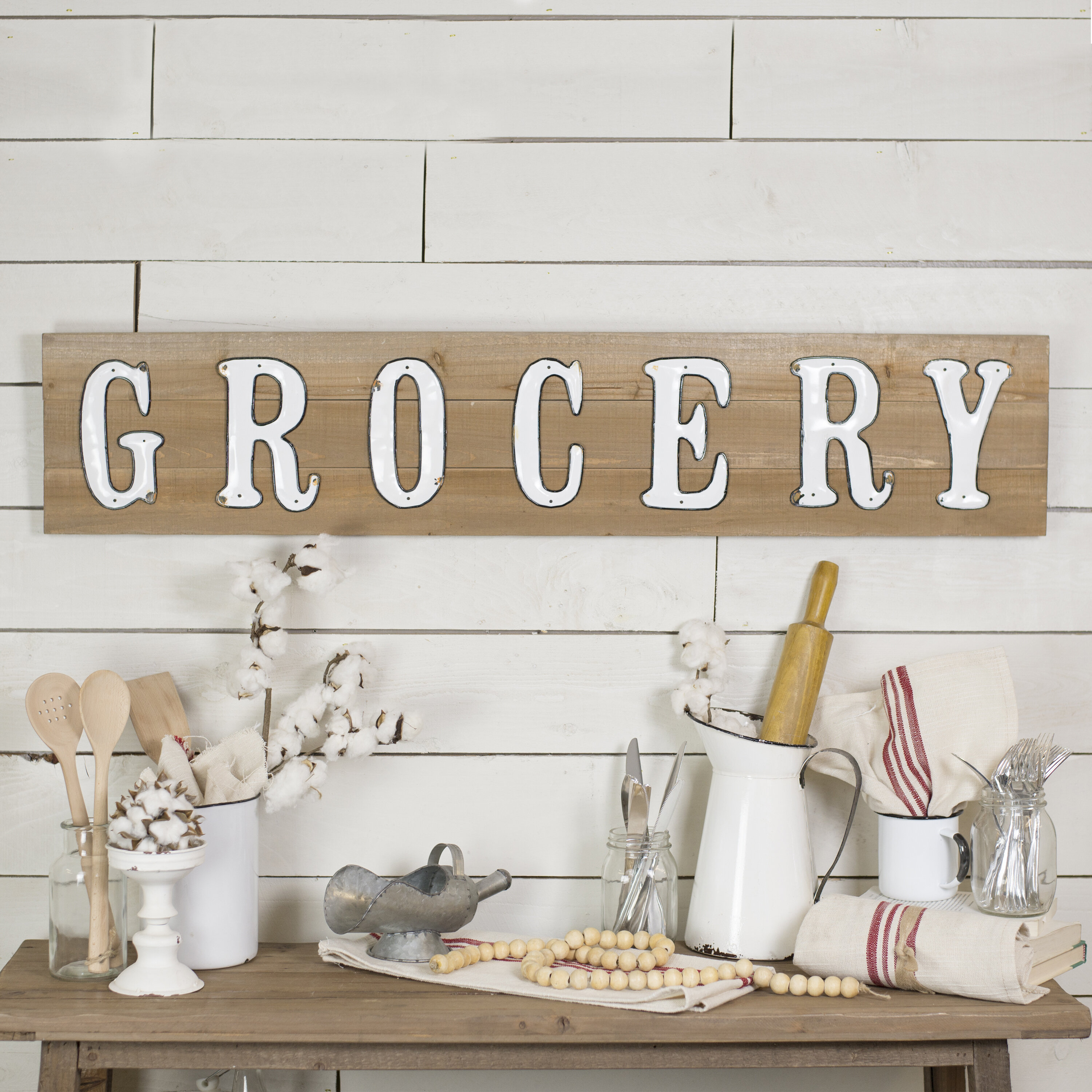 Large Vintage Kitchen Signs | Wayfair With Casual Country Eat Here Retro Wall Decor (View 24 of 30)