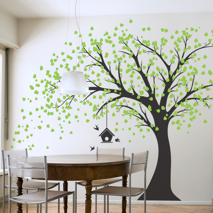 Large Windy Tree With Birdhouse Wall Decal For Tree Wall Decor (View 4 of 30)