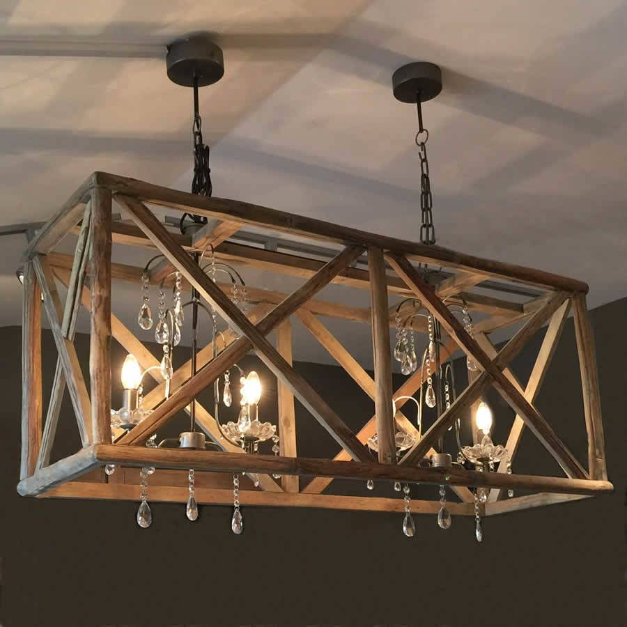 Large Wooden Chandelier With Metal And Crystal | Products Within Filipe Globe Chandeliers (View 24 of 30)