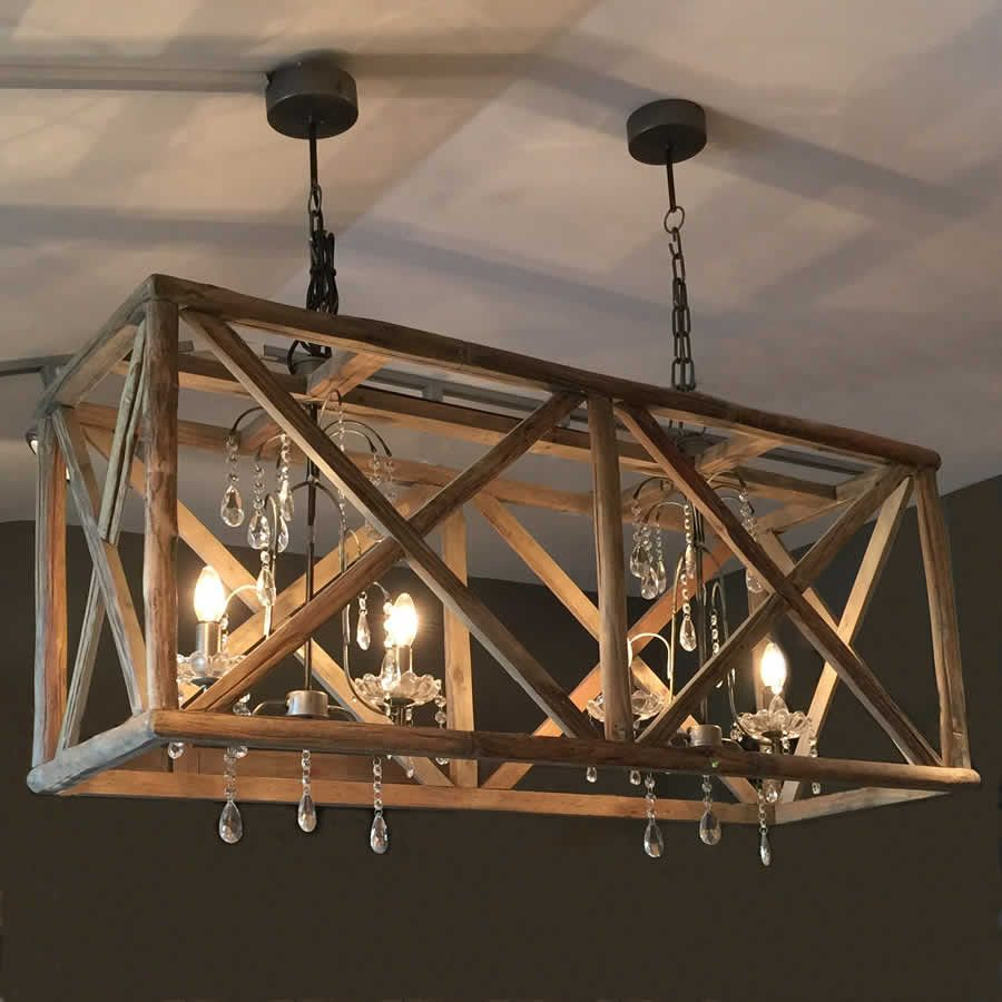 Large Wooden Double Chandelier & Crystal Droplets | Lighting pertaining to Cavanagh 4-Light Geometric Chandeliers (Image 12 of 30)