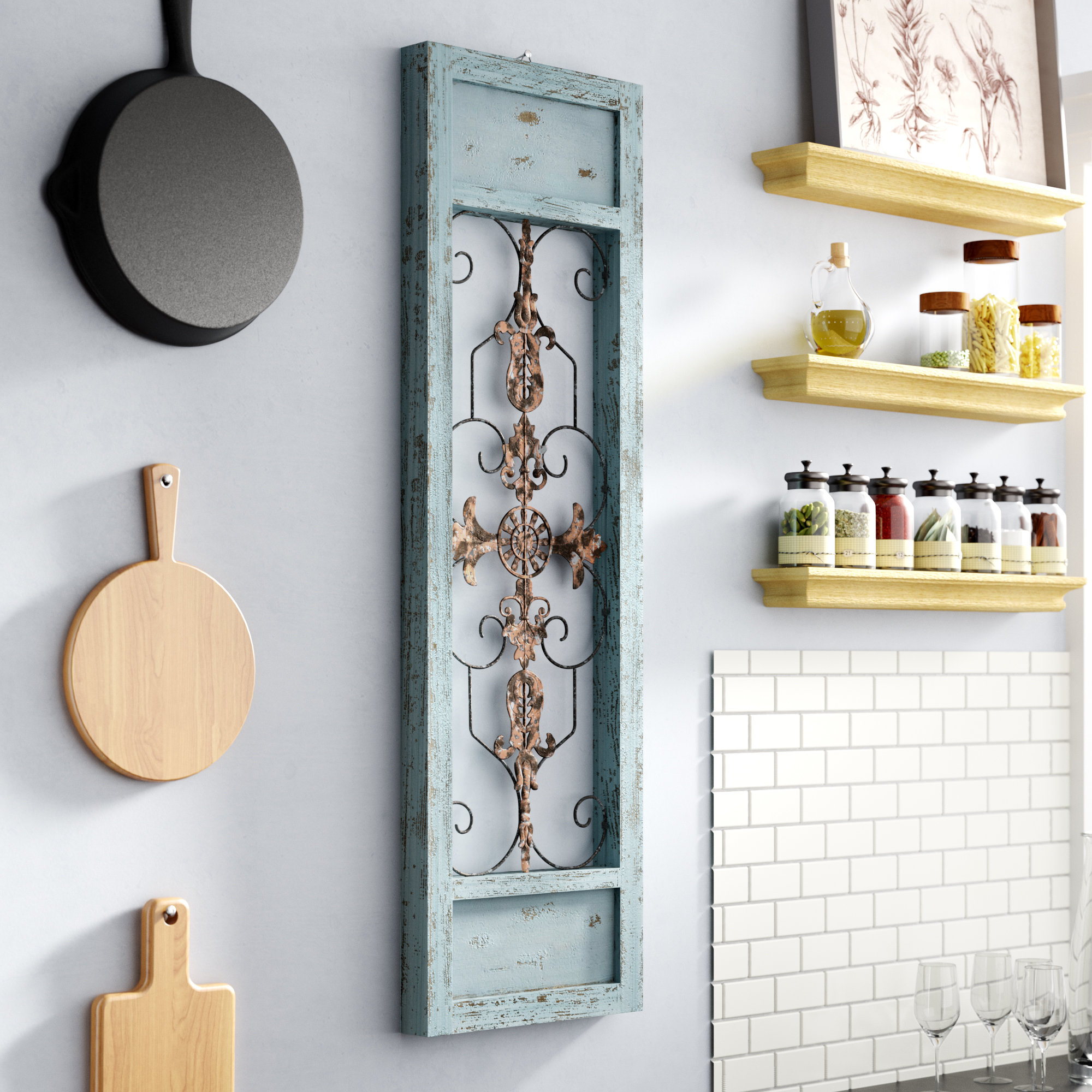 Lark Manor Ornamental Wood And Metal Scroll Wall Décor with 1 Piece Ortie Panel Wall Decor (Image 18 of 30)