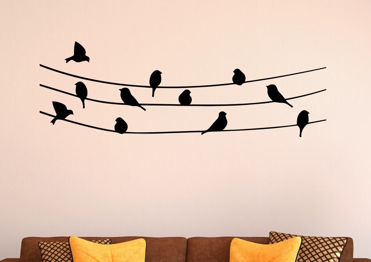 Latest Birds On A Wire Wall Art Singing Bird Branch Pink Pertaining To Birds On A Wire Wall Decor (View 15 of 30)