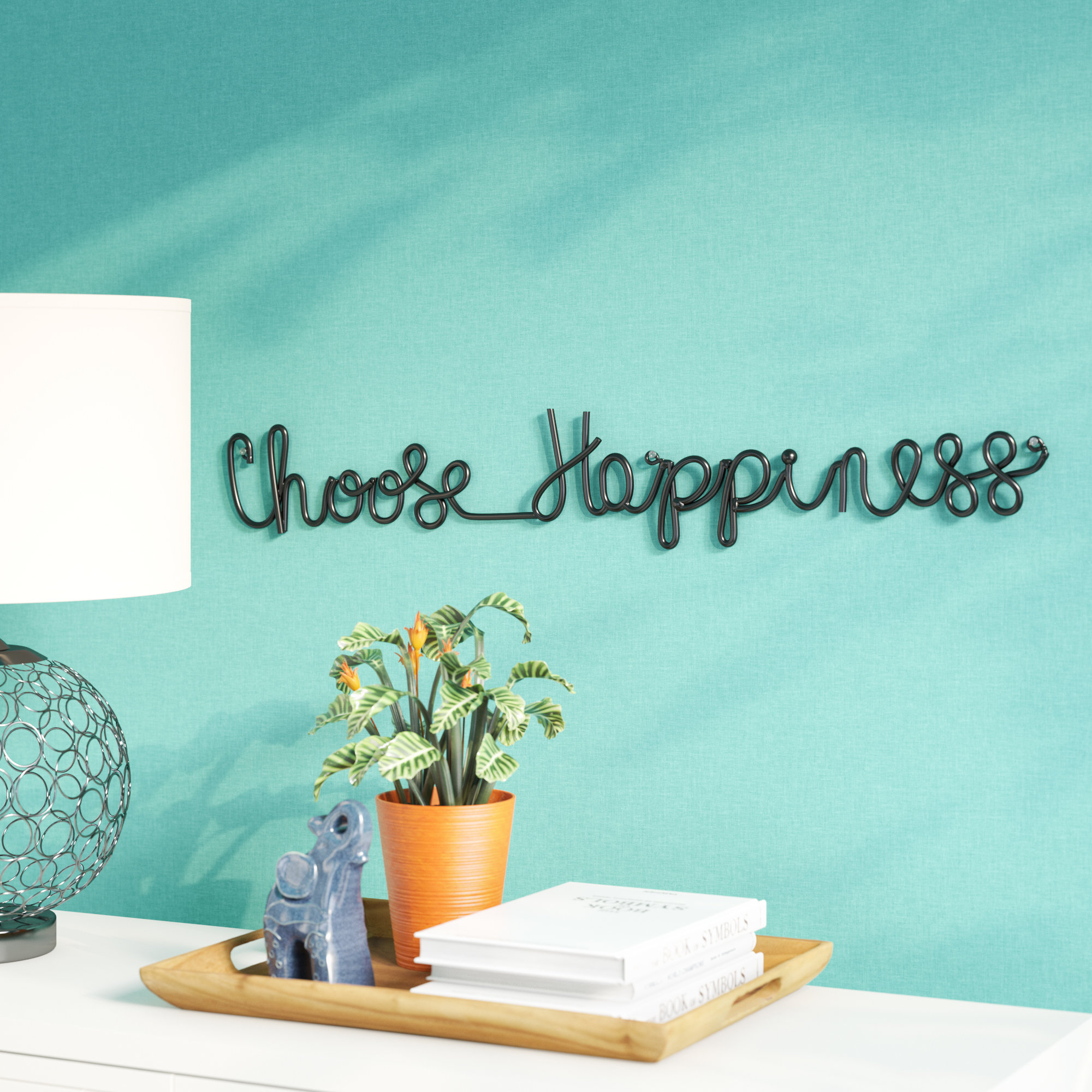 Popular Photo of Choose Happiness 3D Cursive Metal Wall Decor