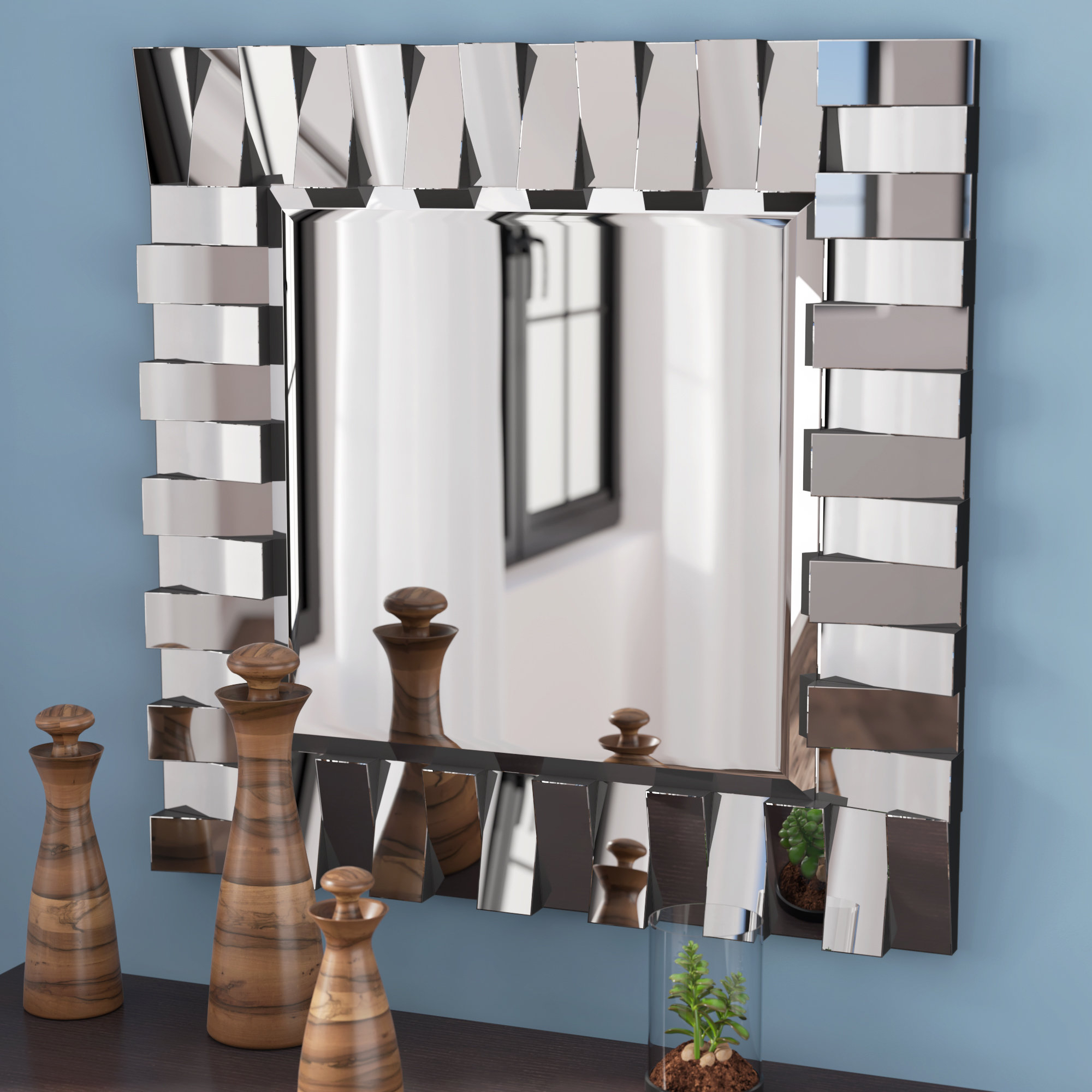 Latitude Run Modern & Contemporary Beveled Wall Mirror with Pennsburg Rectangle Wall Mirror (Image 10 of 30)