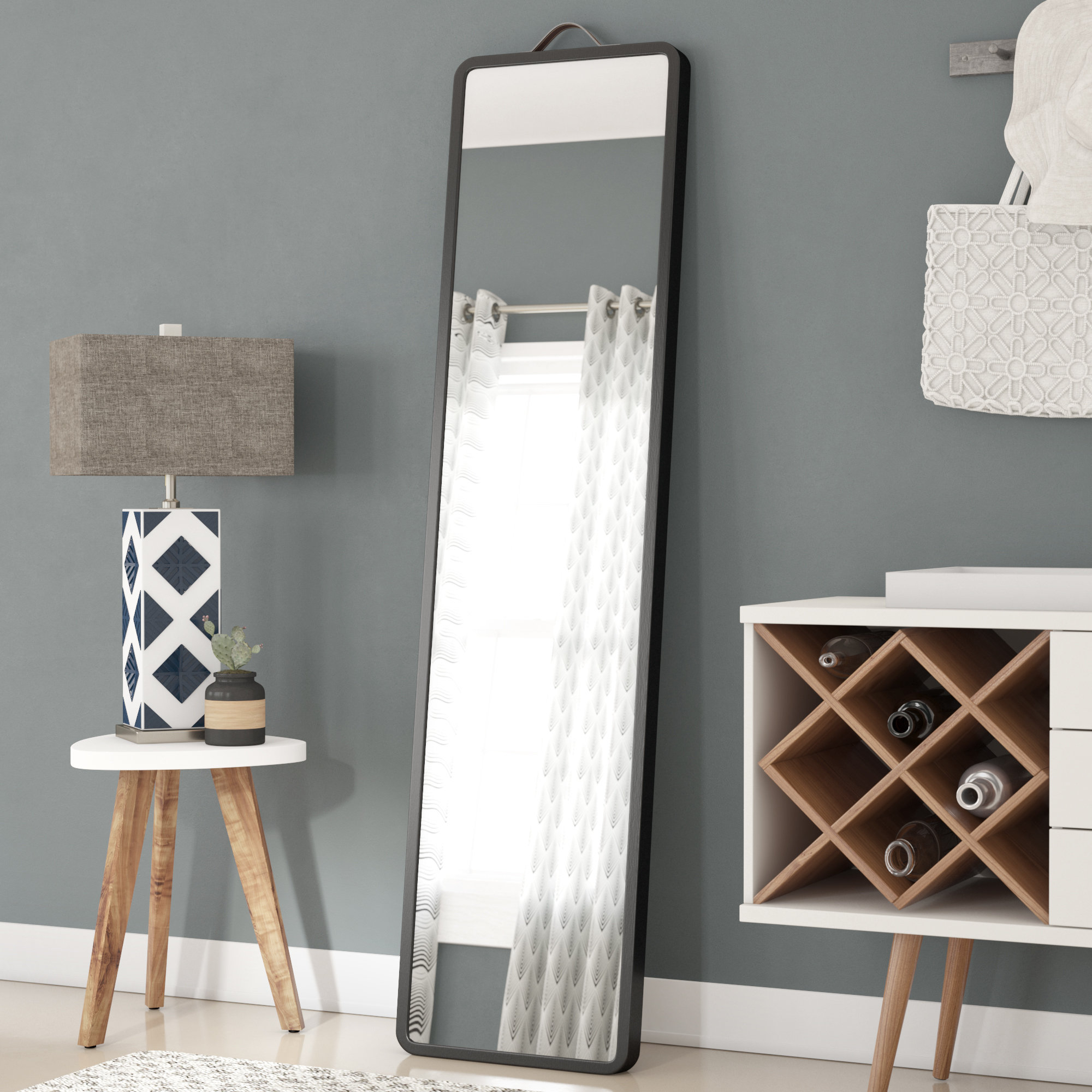 Latitude Run Modern Floor Leaning Full Length Mirror With Leaning Mirrors (View 24 of 30)