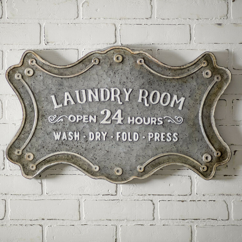 Laundry Room Sign Metal Large Modern Vintage Style Wall Decor 24 X (View 21 of 30)