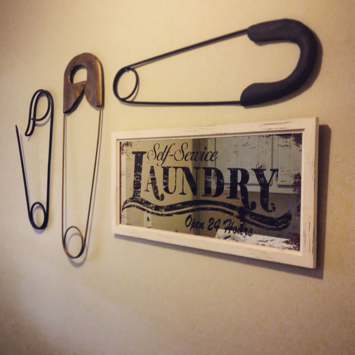 Laundry Room Wall Decor Large Safety Pins And Mirror With Metal Laundry Room Wall Decor (View 2 of 30)