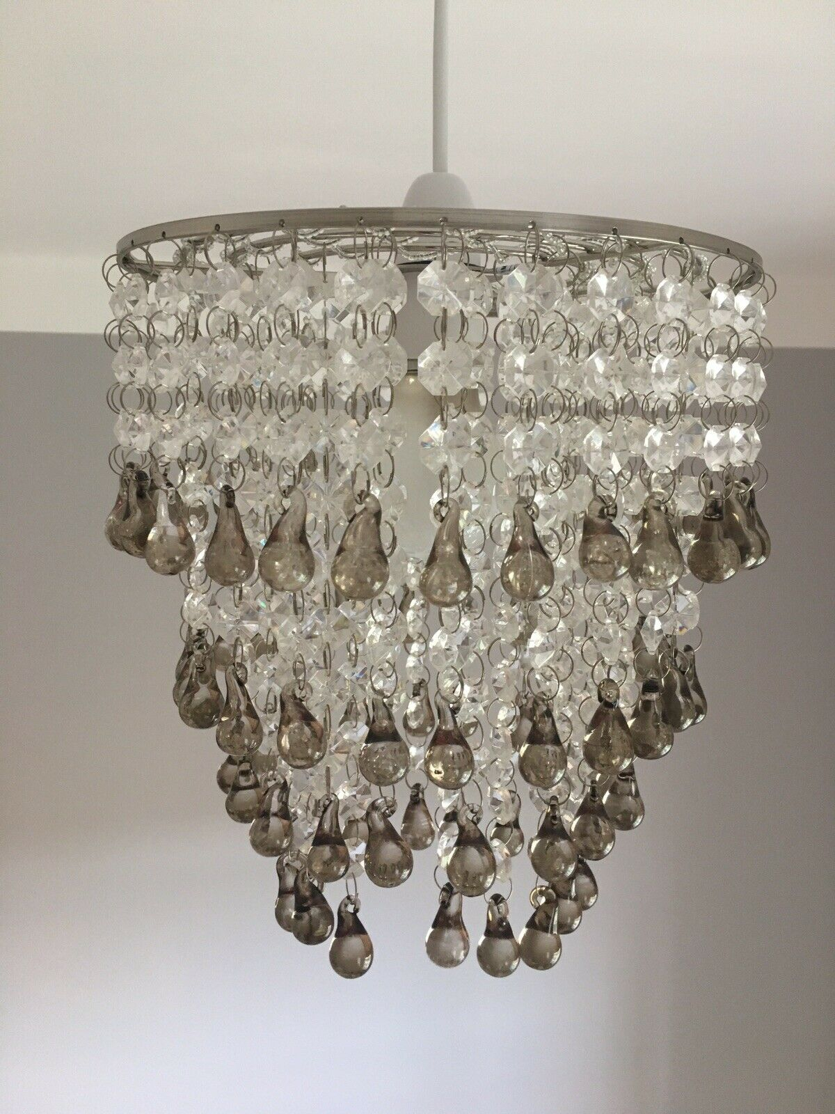 Laura Ashley 'Carmen' Easy Fit Chandelier / Pendant With Smoked Glass  Droplets in Sinead 4-Light Chandeliers (Image 20 of 30)