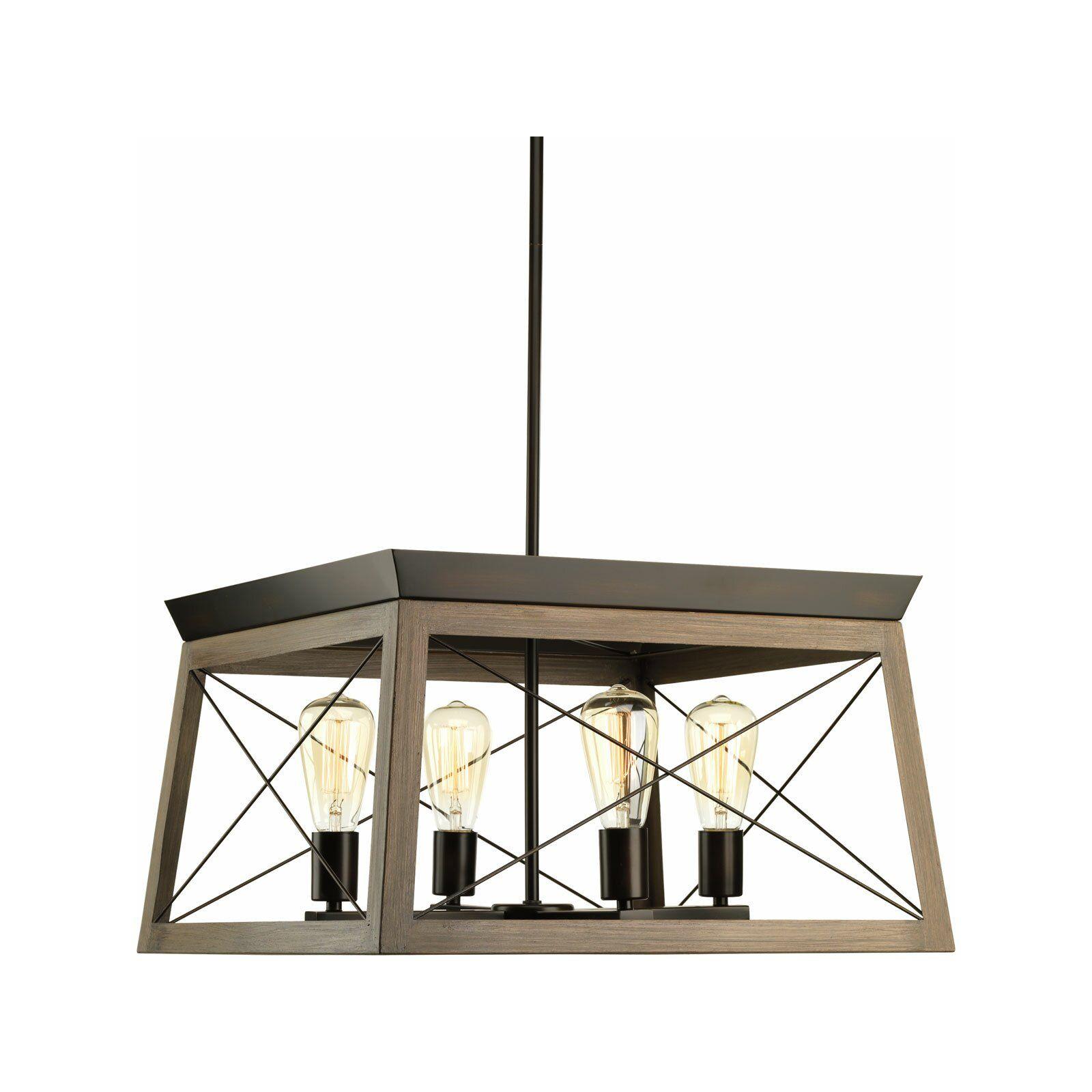 Laurel Foundry Modern Farmhouse Delon 4-Light Square in Delon 4-Light Square Chandeliers (Image 20 of 30)