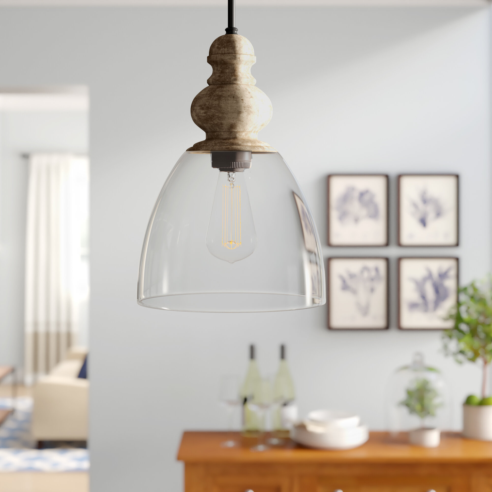 Laurel Foundry Modern Farmhouse Lemelle 1 Light Single Bell Pendant In Bundaberg 1 Light Single Bell Pendants (View 18 of 30)