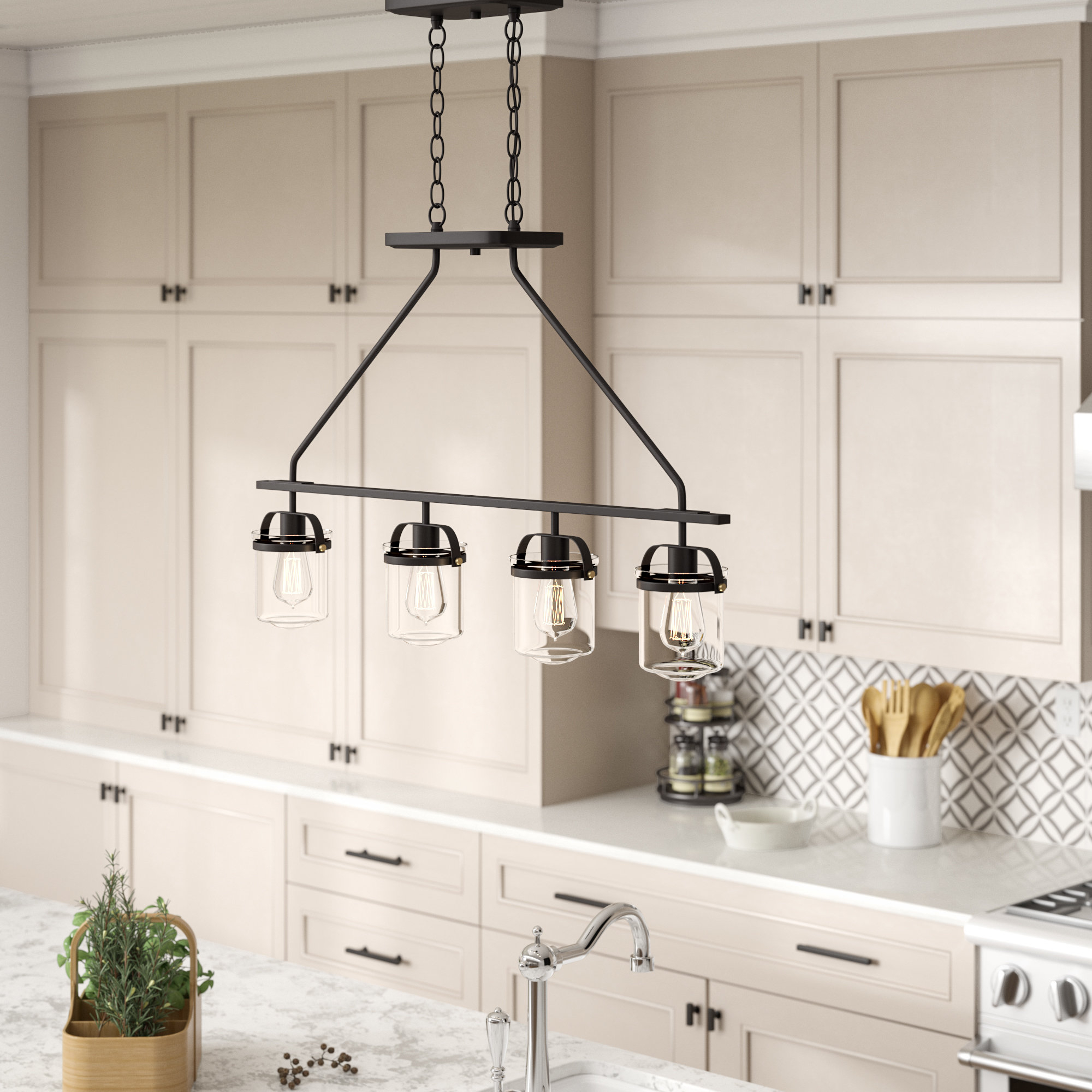 Laurel Foundry Modern Farmhouse Portland 4-Light Kitchen throughout Cinchring 4-Light Kitchen Island Linear Pendants (Image 22 of 30)