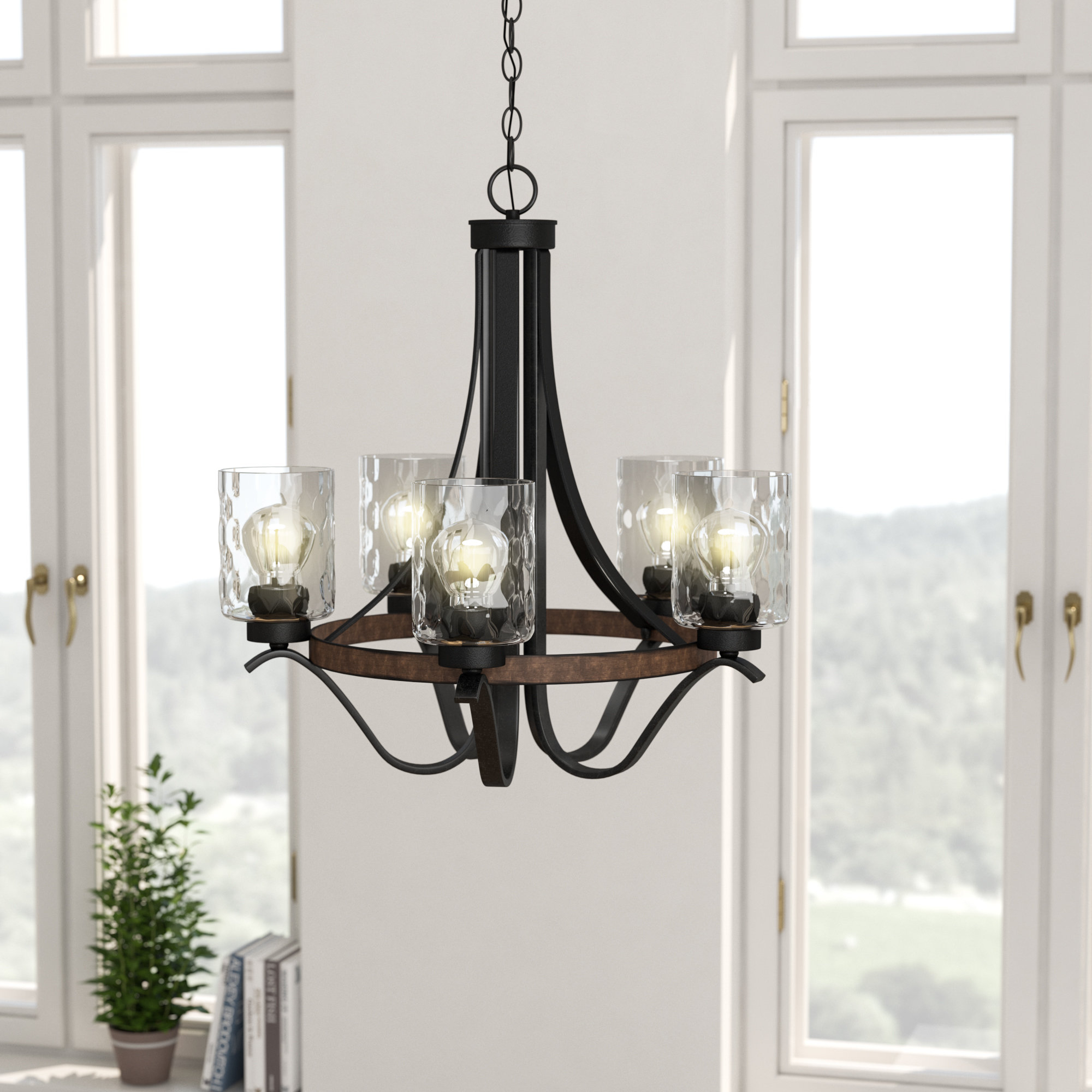 Laurel Foundry Modern Farmhouse Sabo Indoor 5 Light Shaded Chandelier In Suki 5 Light Shaded Chandeliers (View 14 of 30)