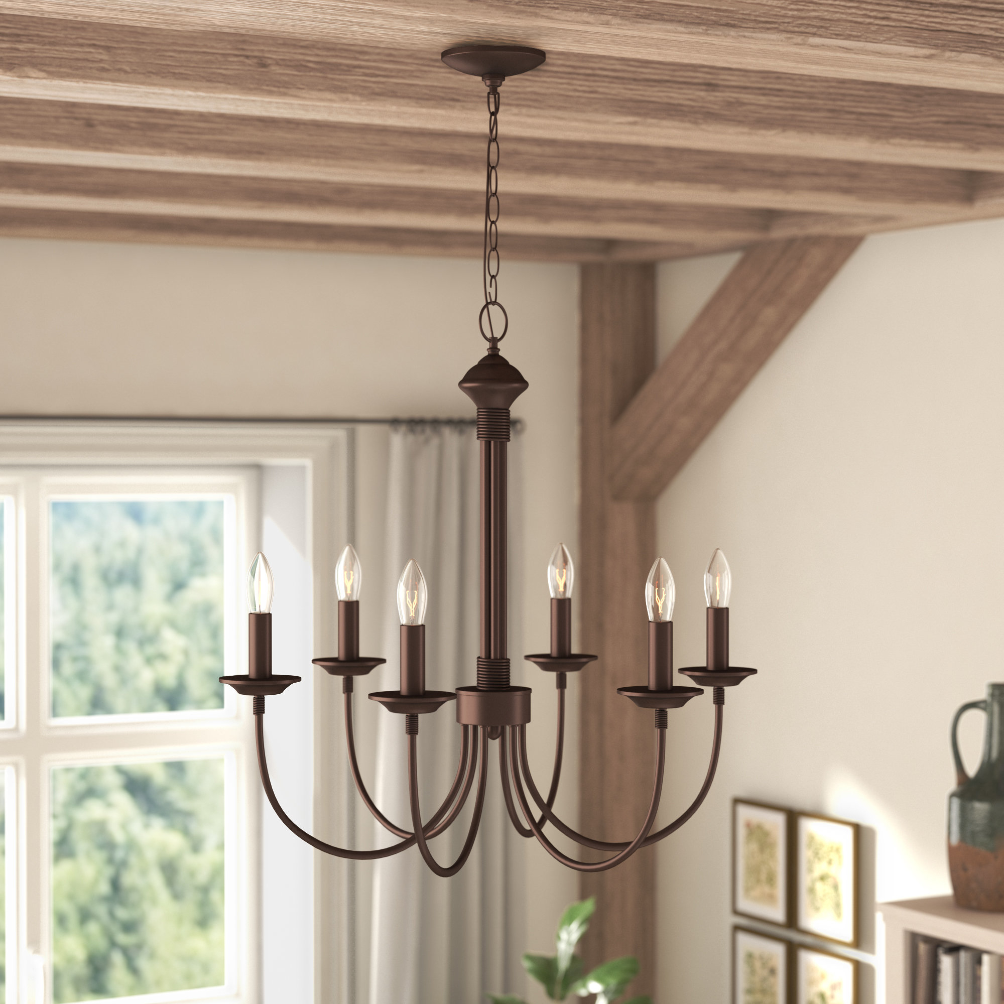 Laurel Foundry Modern Farmhouse Shaylee 6 Light Candle Style Chandelier Intended For Shaylee 6 Light Candle Style Chandeliers (View 16 of 30)