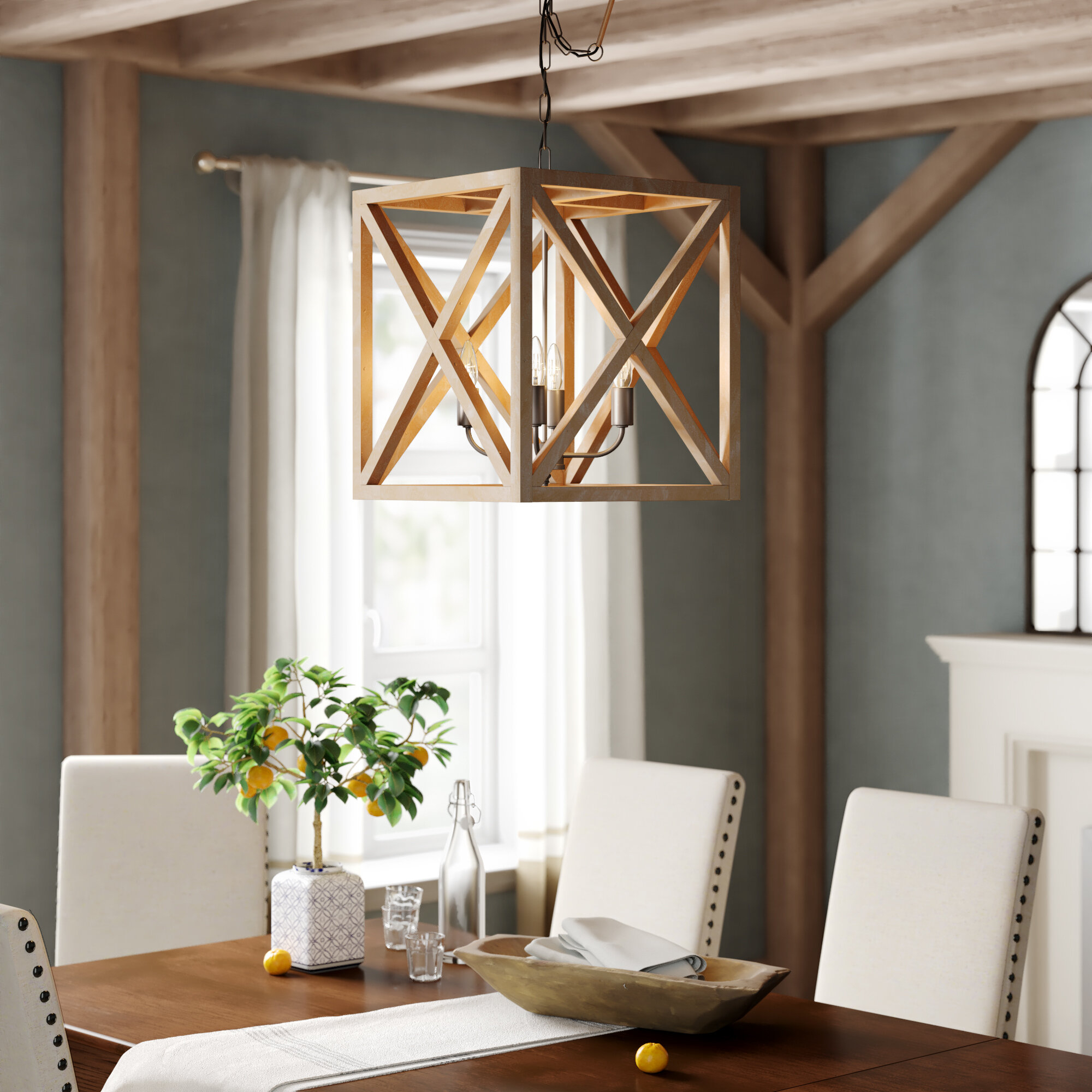 Laurel Foundry Modern Farmhouse William 4 Light Lantern Square / Rectangle Pendant With William 4 Light Lantern Square / Rectangle Pendants (View 4 of 30)