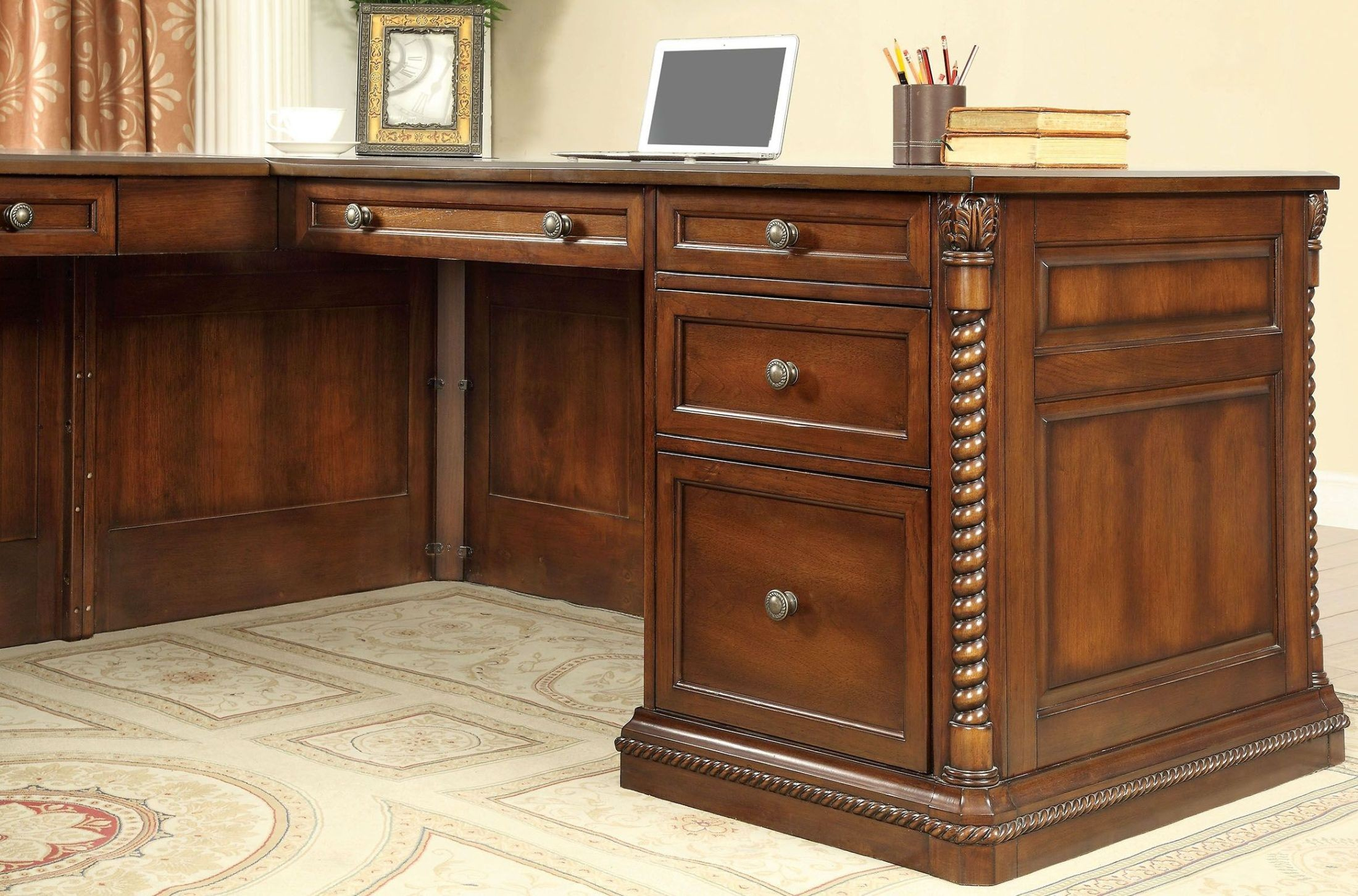 Lavinia Dark Oak Home Office Set From Furniture Of America With Lainey Credenzas (View 14 of 30)