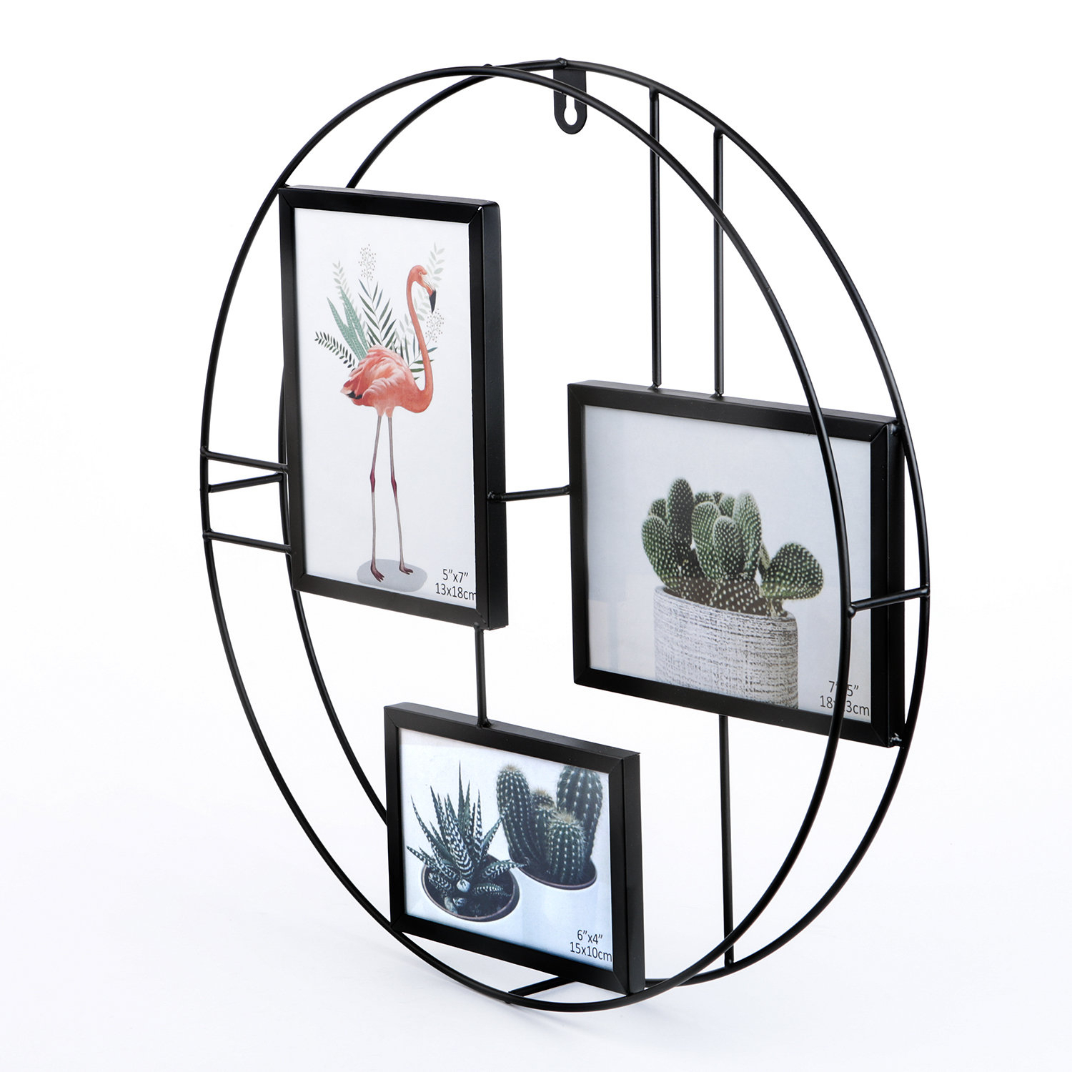 Lesia Round Metal Wire Collage Picture Frame Throughout Millanocket Metal Wheel Photo Holder Wall Decor (View 19 of 30)