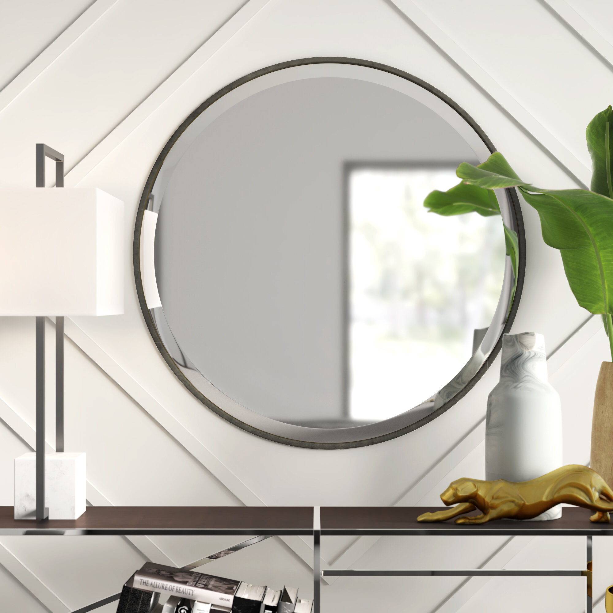 Levan Modern & Contemporary Accent Mirror pertaining to Hub Modern And Contemporary Accent Mirrors (Image 17 of 30)