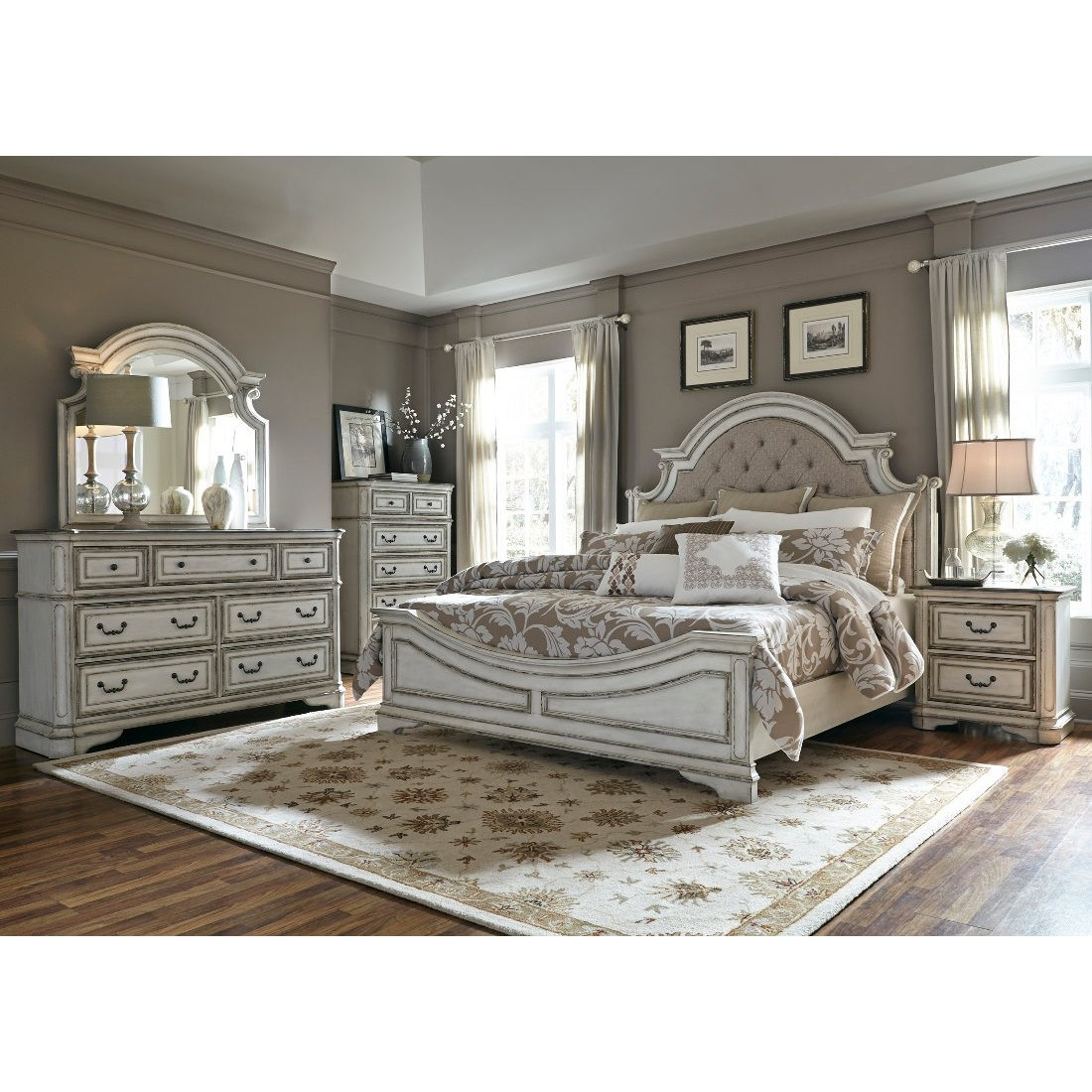 Liberty Magnolia Manor Upholstered Bedroom Set In Antique White intended for 3 Piece Magnolia Brown Panel Wall Decor Sets (Image 17 of 30)