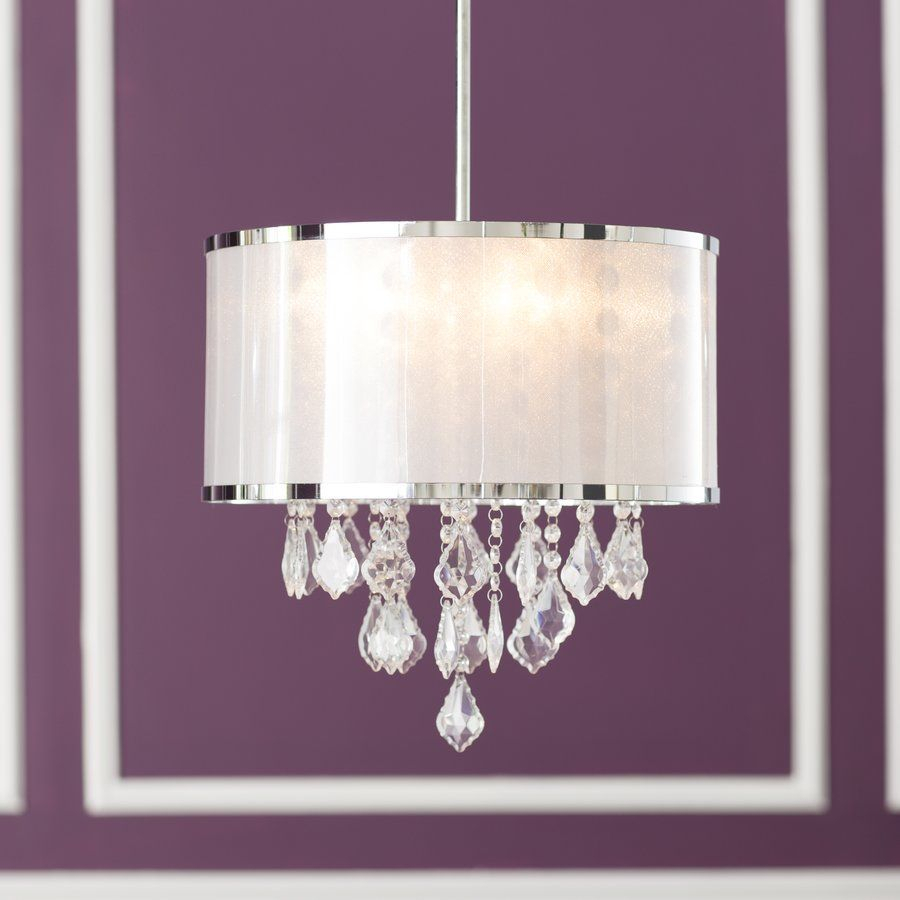 Lindsey 4 Light Drum Chandelier | Home Decor | Chandelier Within Aurore 4 Light Crystal Chandeliers (View 21 of 30)
