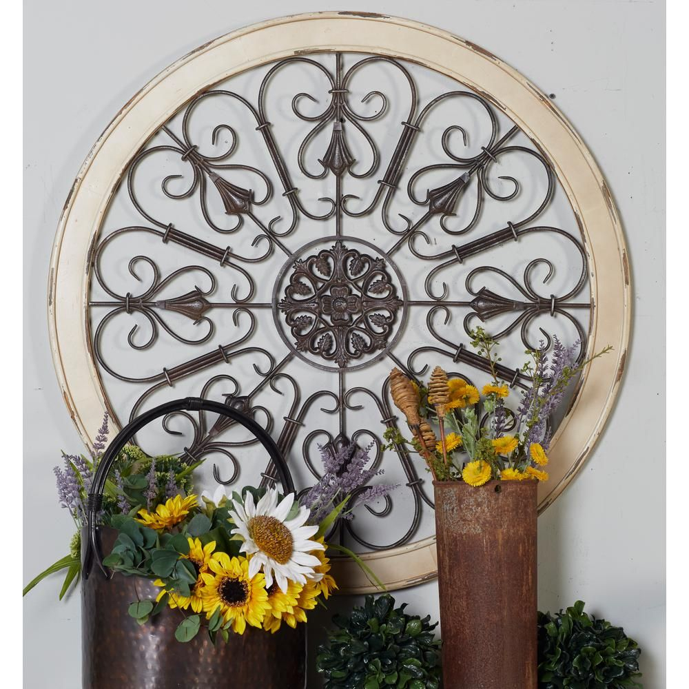 "Litton Lane 36 In. """"scrollwork Medallion"""" Framed Wooden pertaining to Small Medallion Wall Decor (Image 9 of 30)"