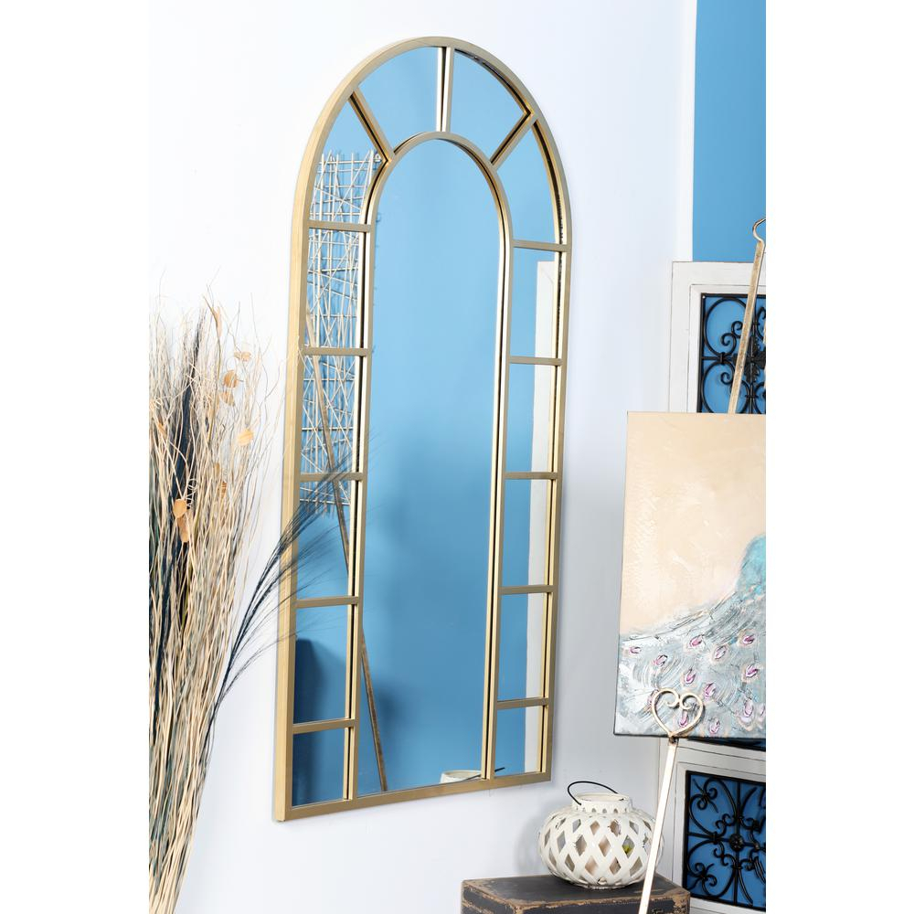 Litton Lane Arched Gold Decorative Wall Mirror With 14 Pane Regarding Gold Arch Wall Mirrors (View 20 of 30)