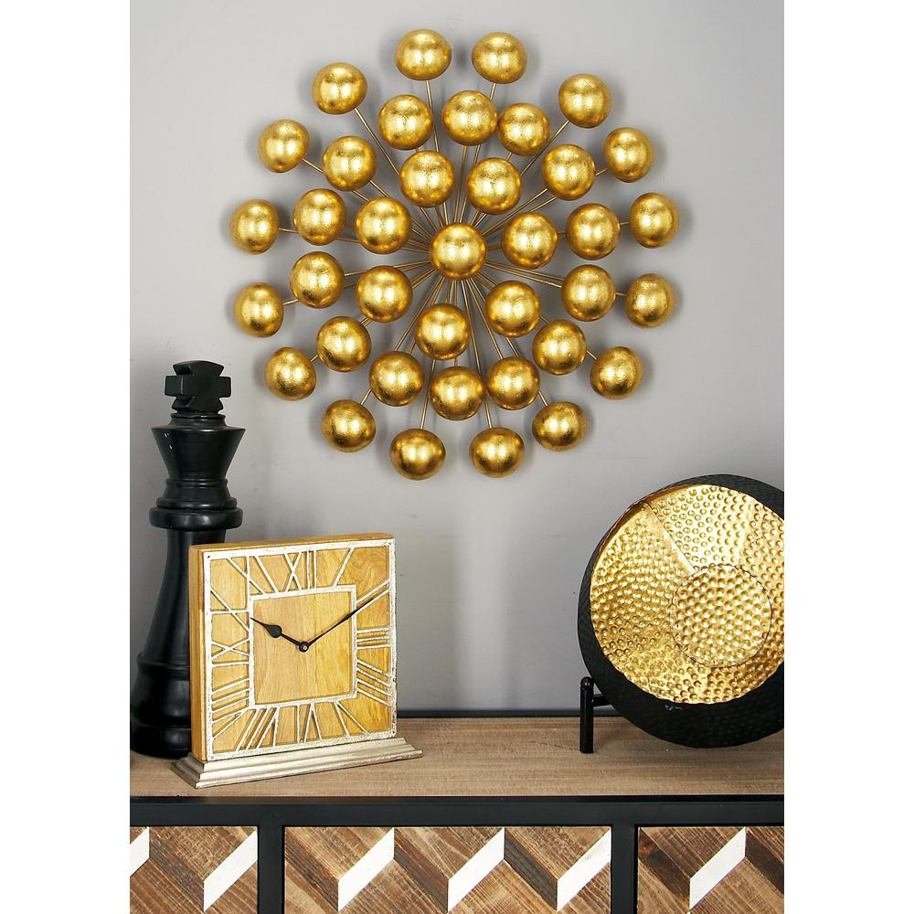 Litton Lane Modern Iron Gold-Finished Ball Burst Wall Decor within Scattered Metal Italian Plates Wall Decor (Image 10 of 30)