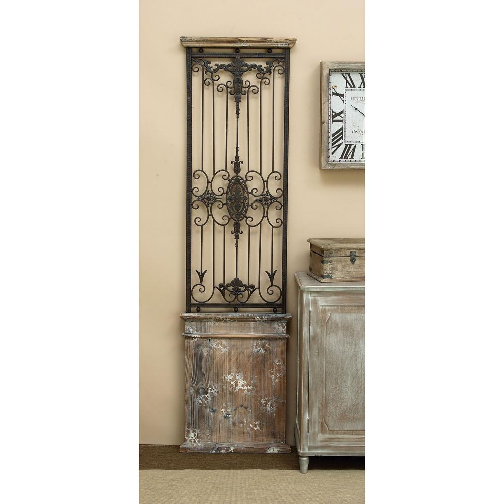 Litton Lane Rustic 71 In. Wrought Iron Wall Panel 80944 for Ornamental Wood and Metal Scroll Wall Decor (Image 16 of 30)