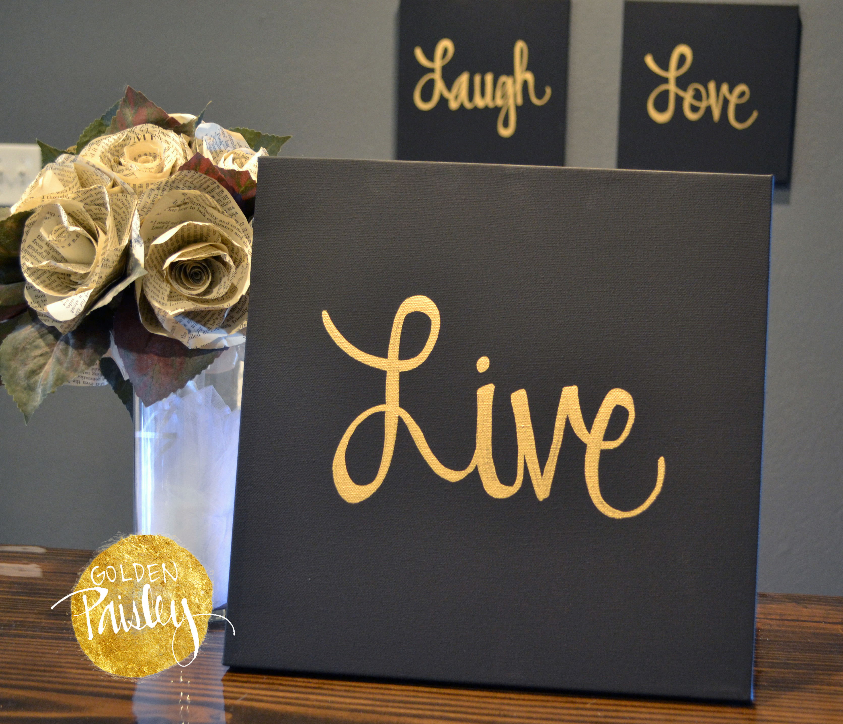 Live Laugh Love Black & Gold 3 Piece Wall Decor Set For Live Love Laugh 3 Piece Black Wall Decor Sets (View 7 of 30)