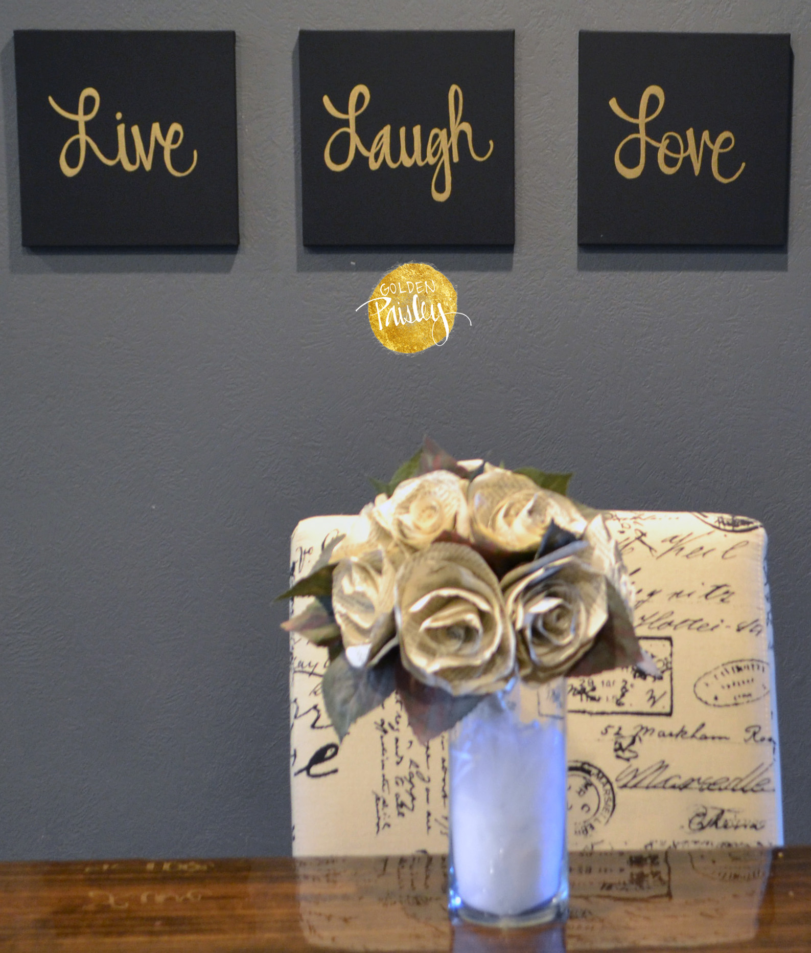 Live Laugh Love Black & Gold 3 Piece Wall Decor Set Throughout Live Love Laugh 3 Piece Black Wall Decor Sets (View 3 of 30)