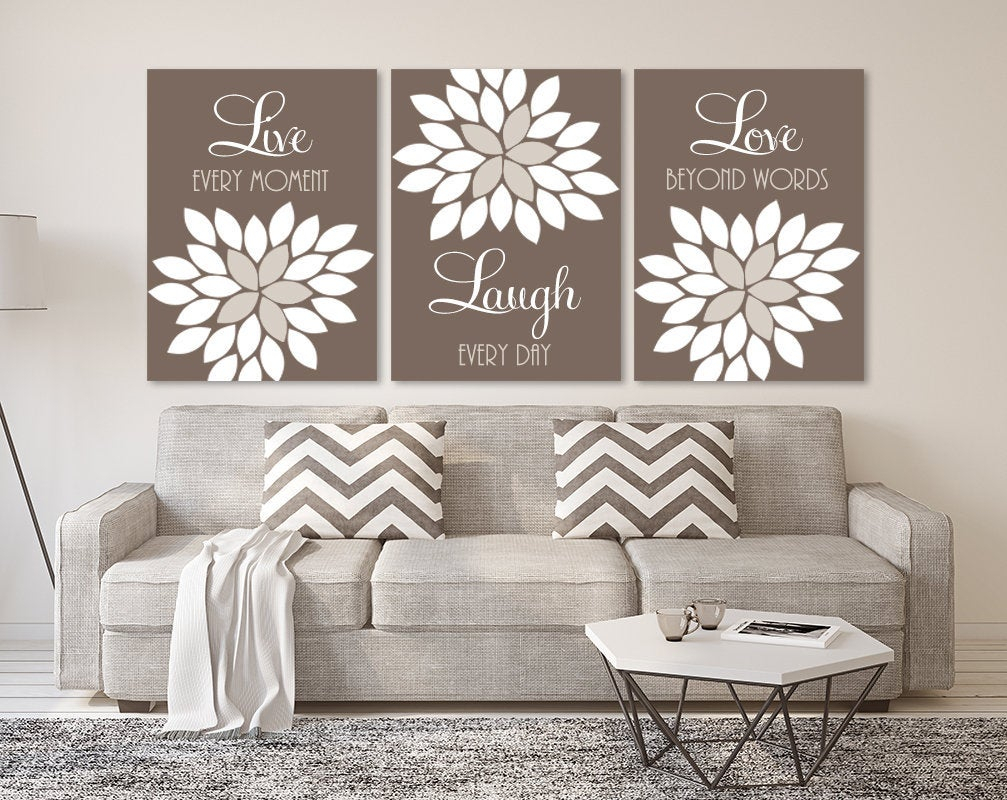Live Laugh Love Wall Art, Live Laugh Canvas Or Prints Brown Beige Bedroom Pictures, Brown Beige Bathroom Quotes Wall Decor Set Of 3 Artwork With Live Love Laugh 3 Piece Black Wall Decor Sets (View 21 of 30)