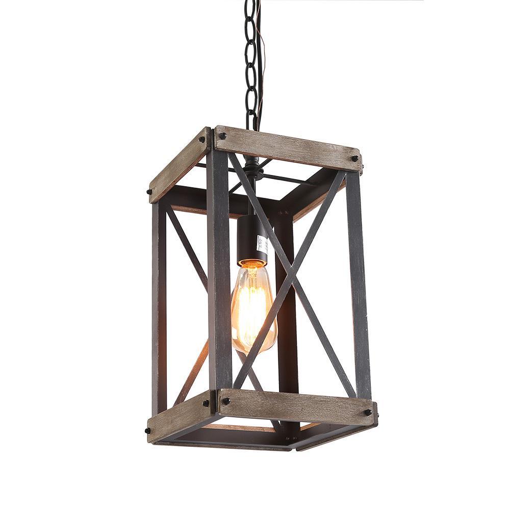 Lnc 1 Light Black Wood Lantern Foyer Pendant Within 3 Light Lantern Cylinder Pendants (View 19 of 30)