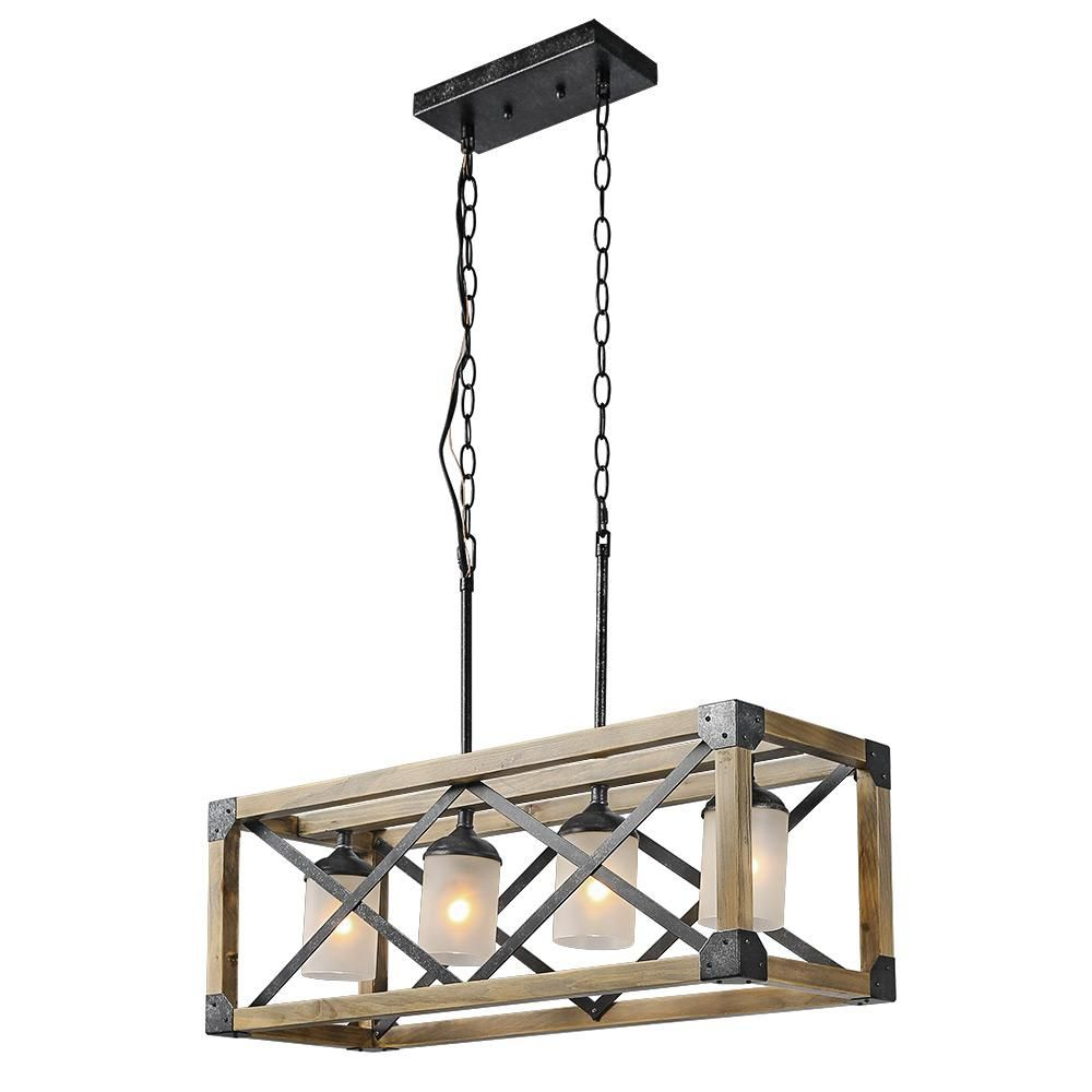 Lnc 4 Light Black Rustic Chandelier With Frosted Cylinder Intended For Ellenton 4 Light Rectangle Chandeliers (View 9 of 30)