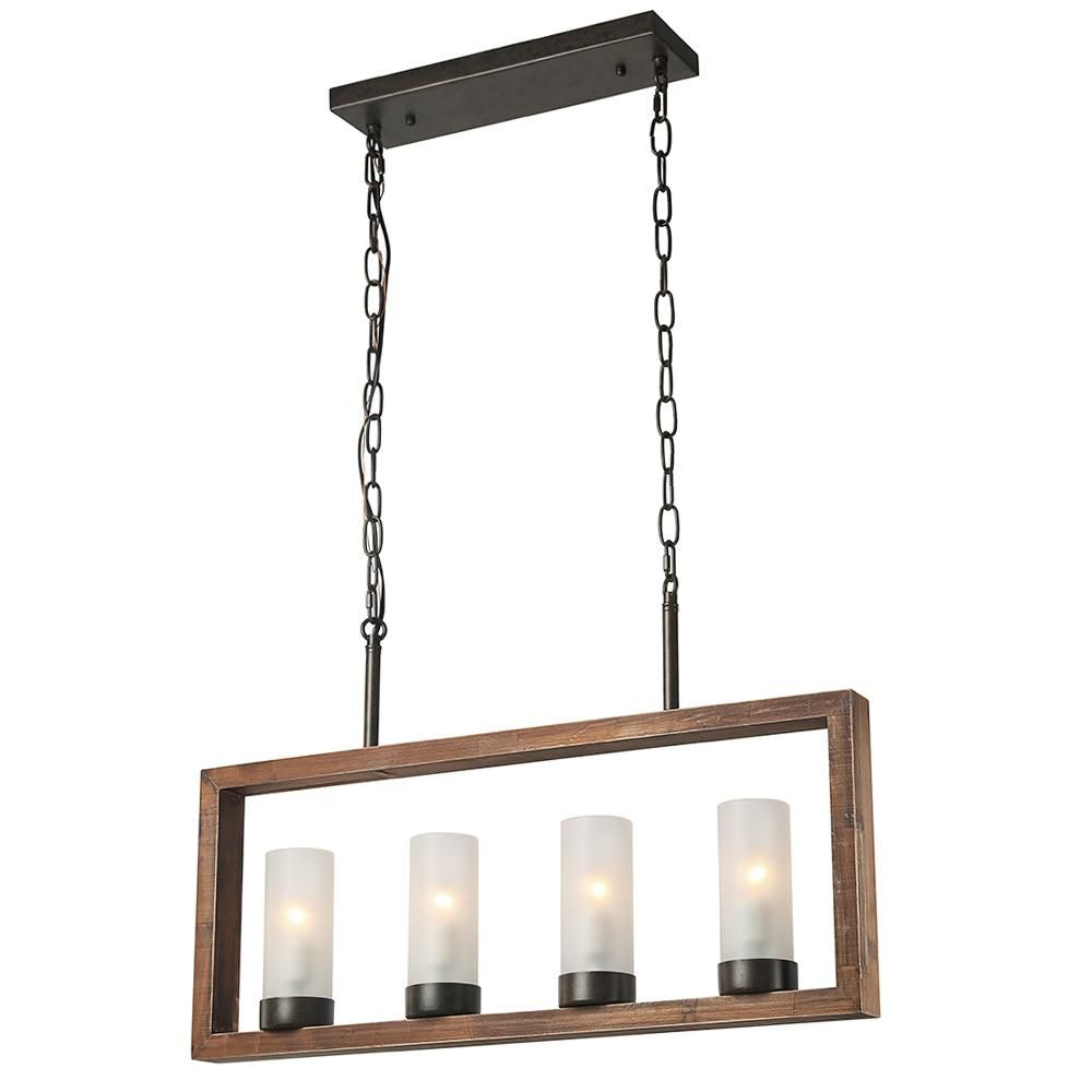 Lnc 4 Light Bronze Wood Chandelier With Frosted Glass Shade Within Ellenton 4 Light Rectangle Chandeliers (View 7 of 30)