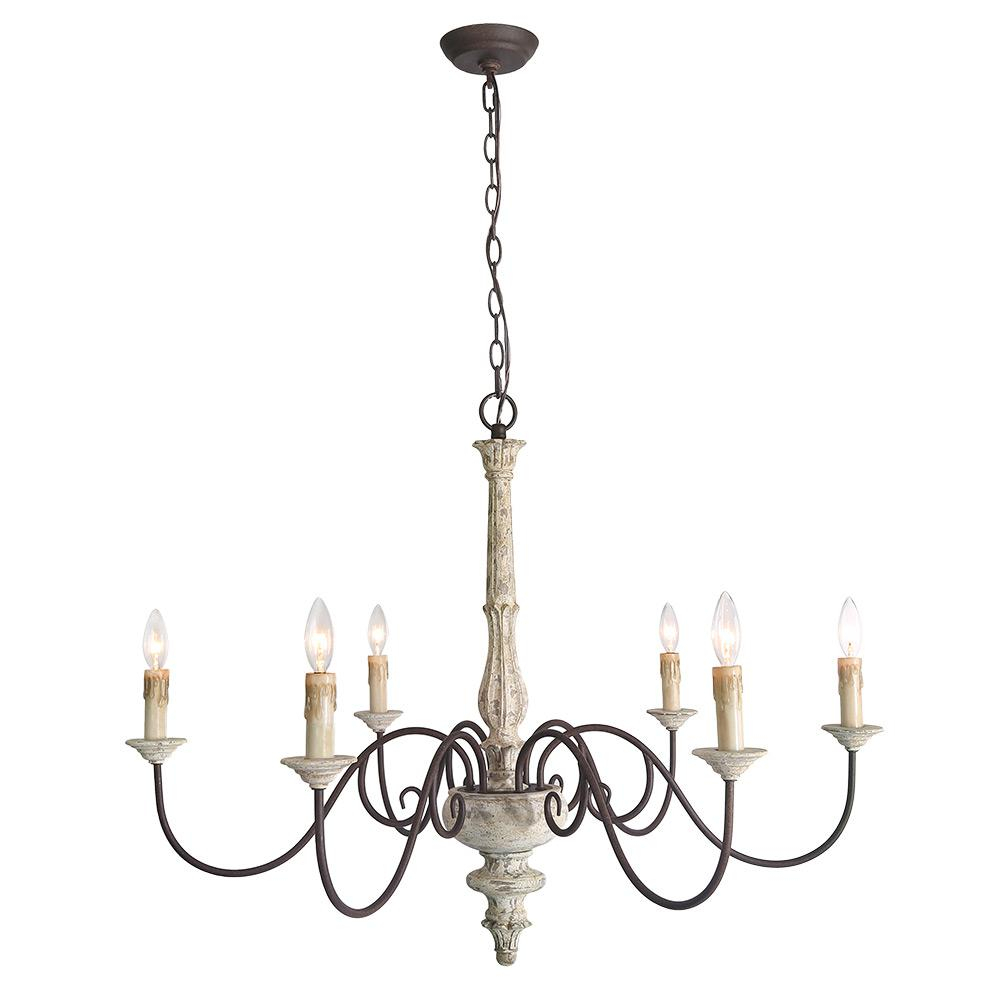 Lnc 6 Light Gray Shabby Chic French Country Chandelier For Diaz 6 Light Candle Style Chandeliers (View 22 of 30)