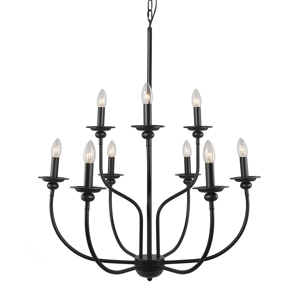 Lnc 9 Light Black Chandelier In 2019 | Products | Black With Regard To Giverny 9 Light Candle Style Chandeliers (View 12 of 30)