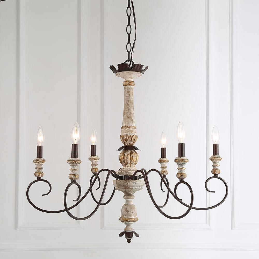 Lnc Chandeliers Shabby Chic French Country Rusty Metal 6 Inside Diaz 6 Light Candle Style Chandeliers (View 20 of 30)