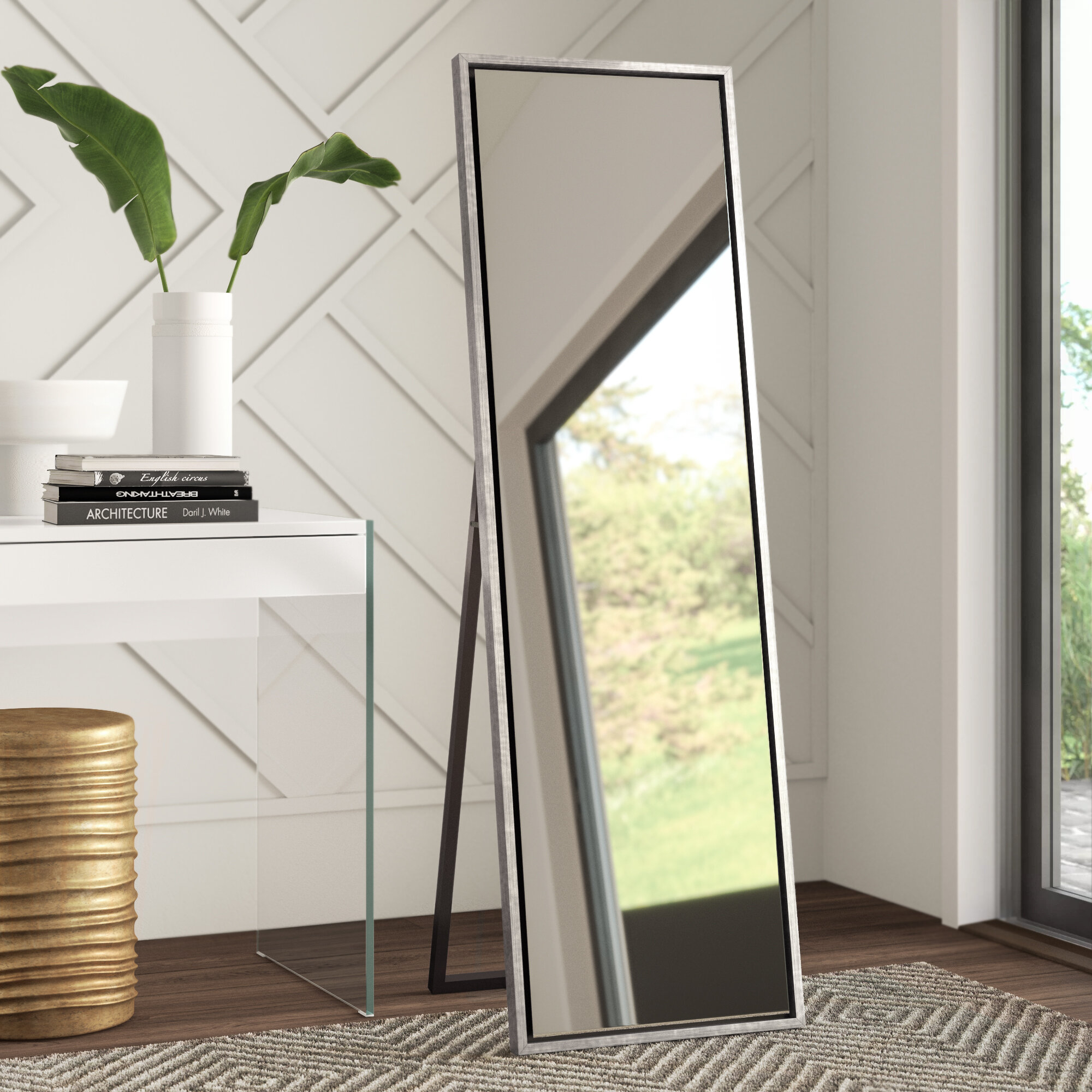 Loeffler Wood Framed Easel Free Standing Full Length Mirror With Austin Industrial Accent Mirrors (Image 16 of 30)