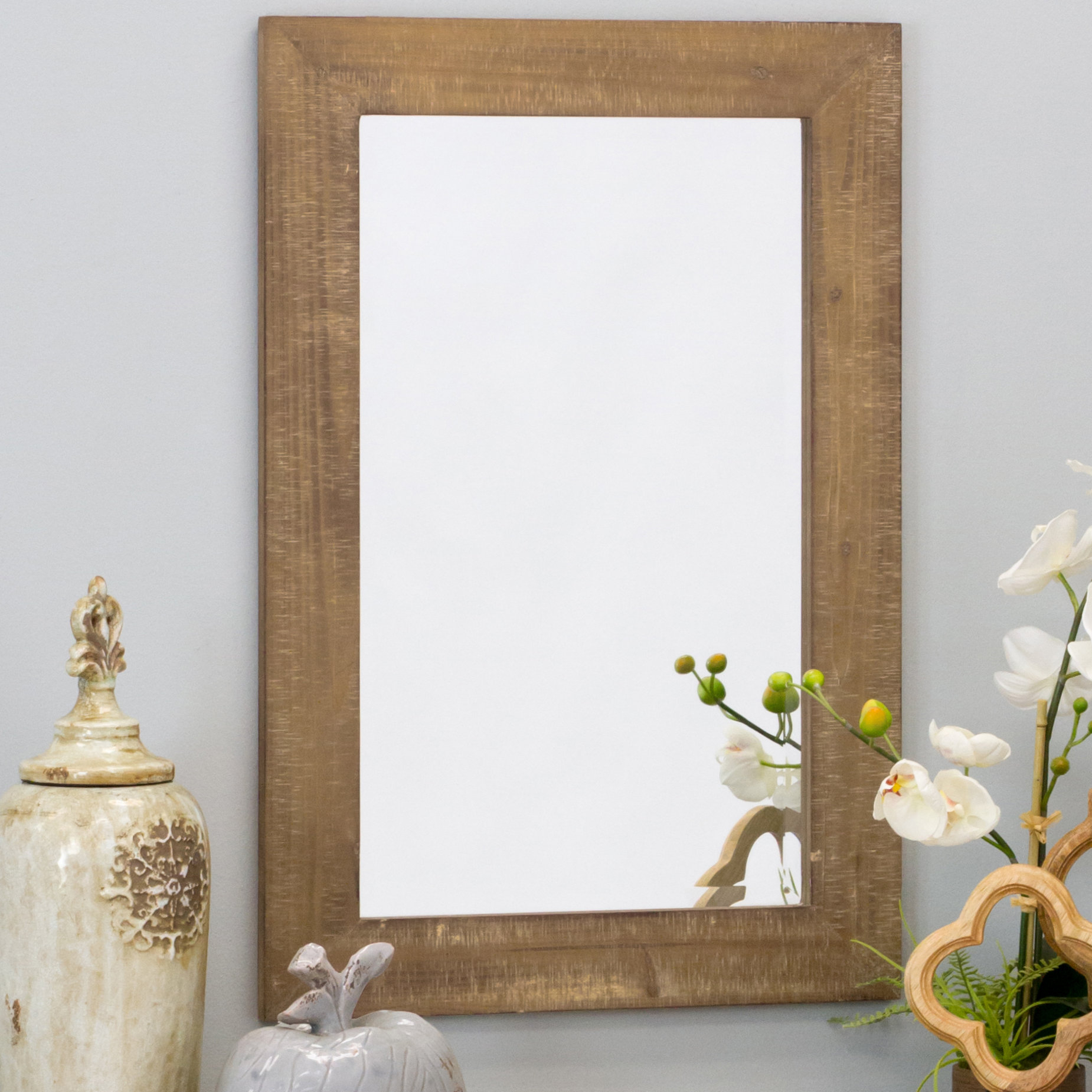 Longwood Rustic Beveled Accent Mirror Regarding Rena Accent Mirrors (View 8 of 30)