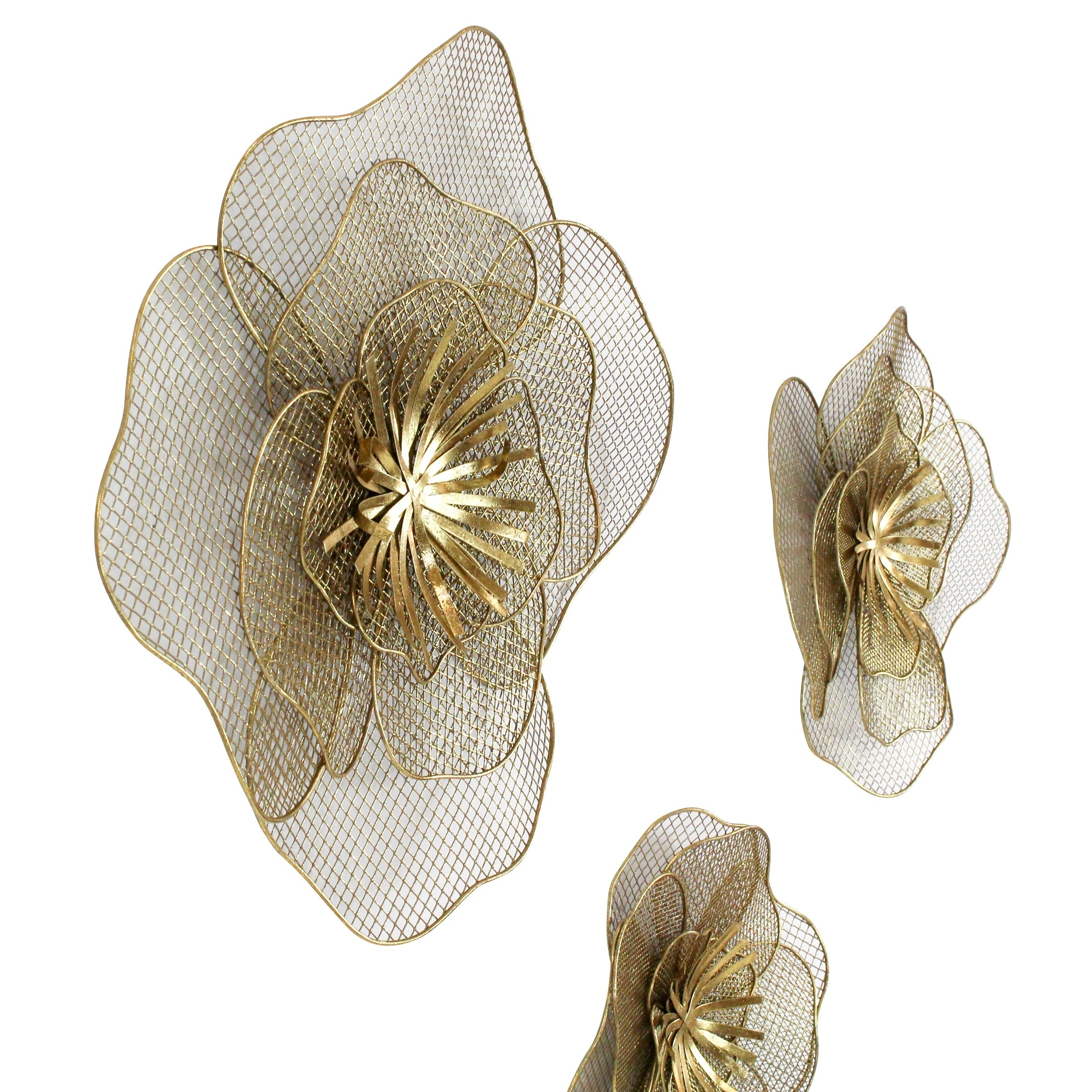 Lori Metal Flowers Wall Decor (Set Of 3) For Metal Flower Wall Decor (Set Of 3) (View 24 of 30)