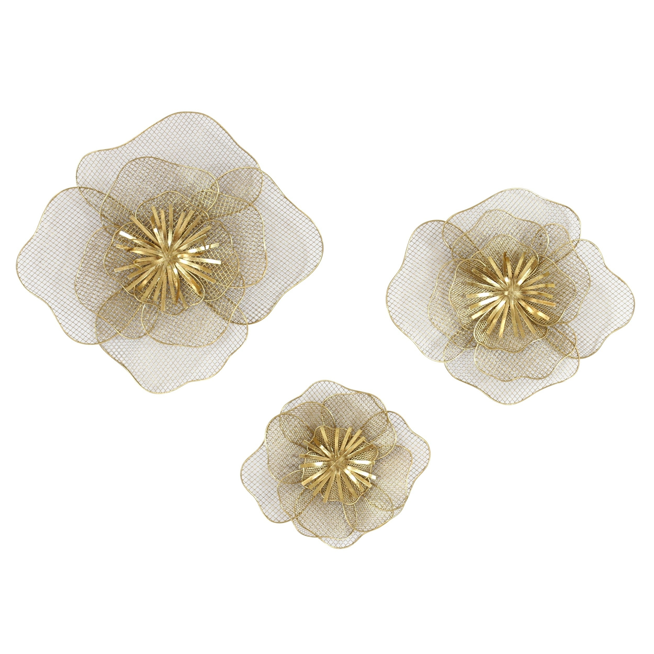 Lori Metal Flowers Wall Decor (Set Of 3) In Metal Flower Wall Decor (Set Of 3) (View 2 of 30)