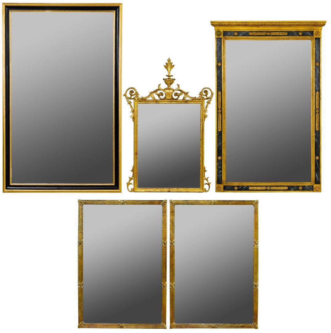 Lot 129: Wall Mirror Assortment; Five Painted Frame Mirrors pertaining to Rectangle Ornate Geometric Wall Mirrors (Image 11 of 30)