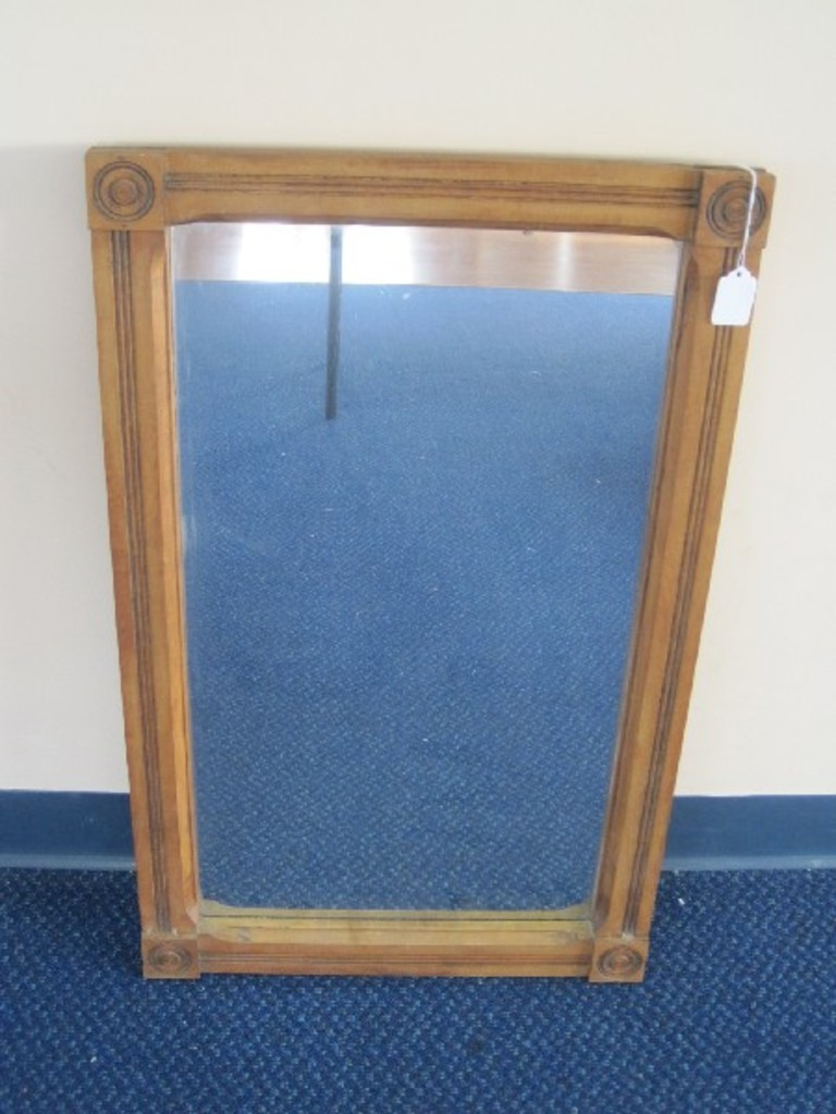 Lot: Early Pine Frame Wall Mirror W/ Block Medallion Accent With Medallion Accent Mirrors (View 16 of 30)