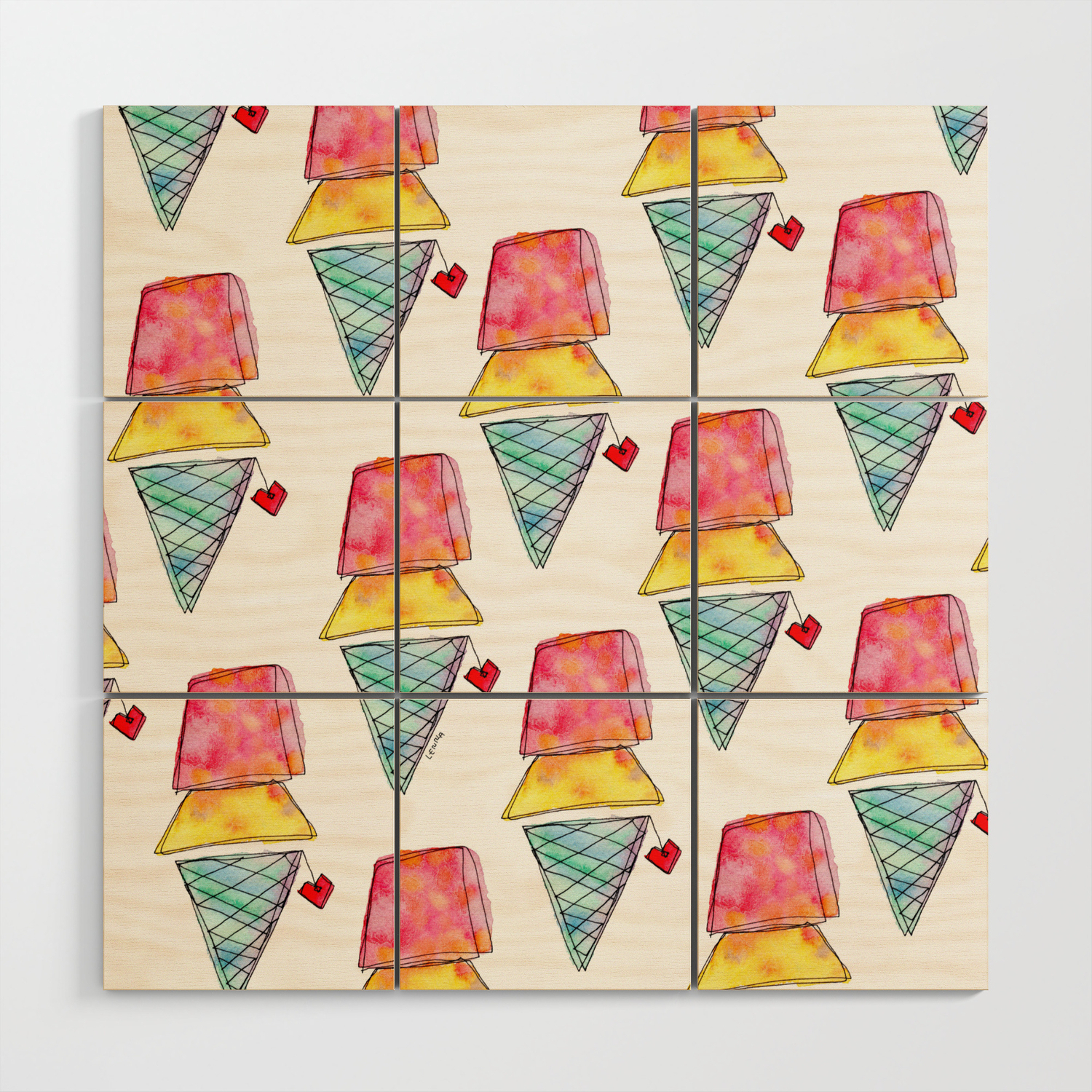 Love You More Than Ice Cream Pattern Food Illustration Love Painting Wood  Wall Artlennaarty pertaining to 'Love You More' Wood Wall Decor (Image 21 of 30)